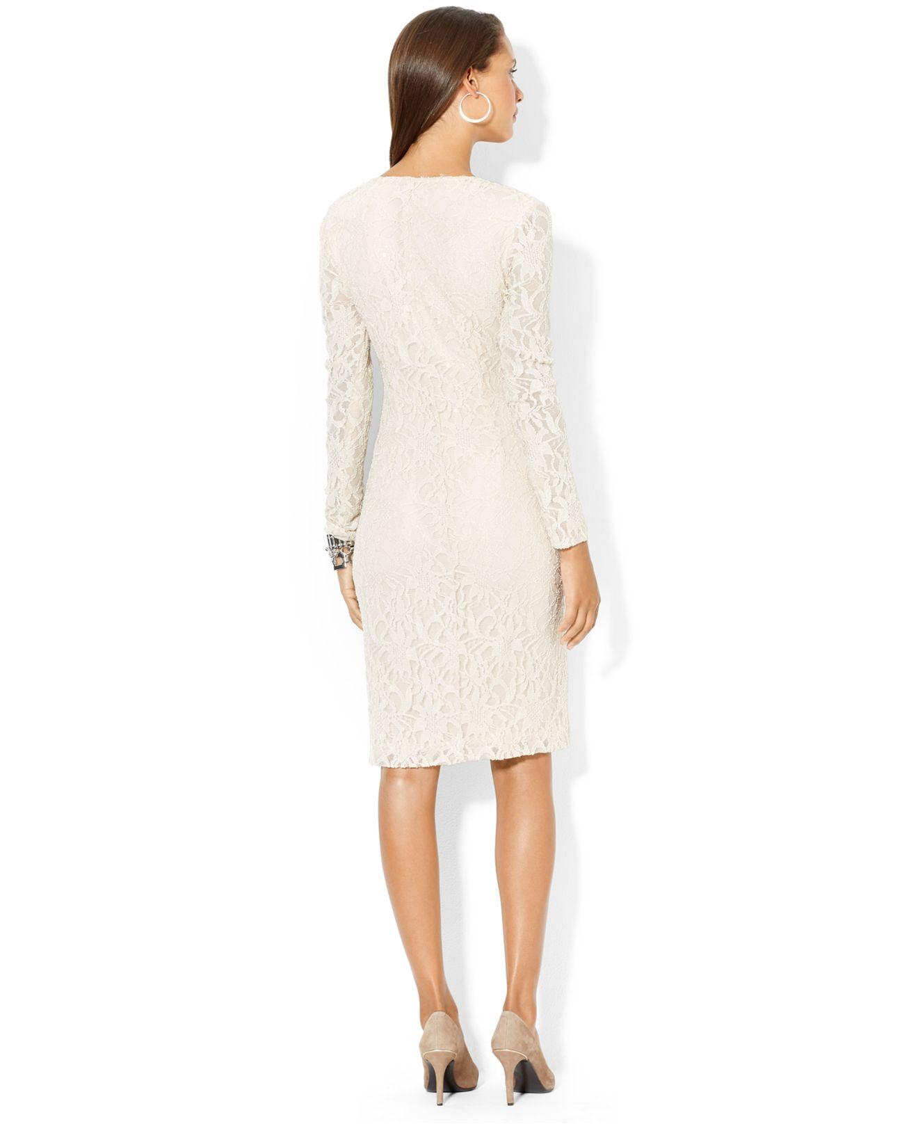 7cff3fb42 Lauren by Ralph Lauren Sequined-Lace Surplice Dress in Natural - Lyst