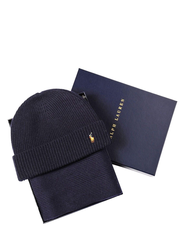 da5a50daf190e Polo Ralph Lauren Merino Wool Scarf   Beanie Hat Set in Blue - Lyst