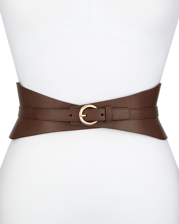 neiman leather corset belt in brown lyst