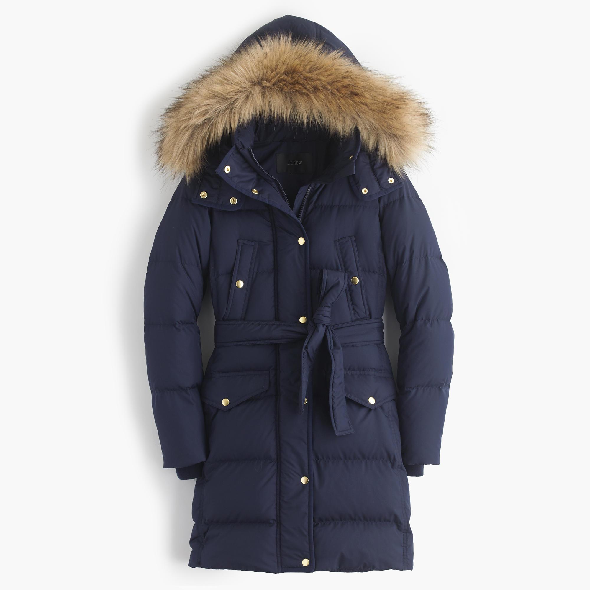 J Crew Tall Wintress Puffer Coat With Faux Fur Hood In