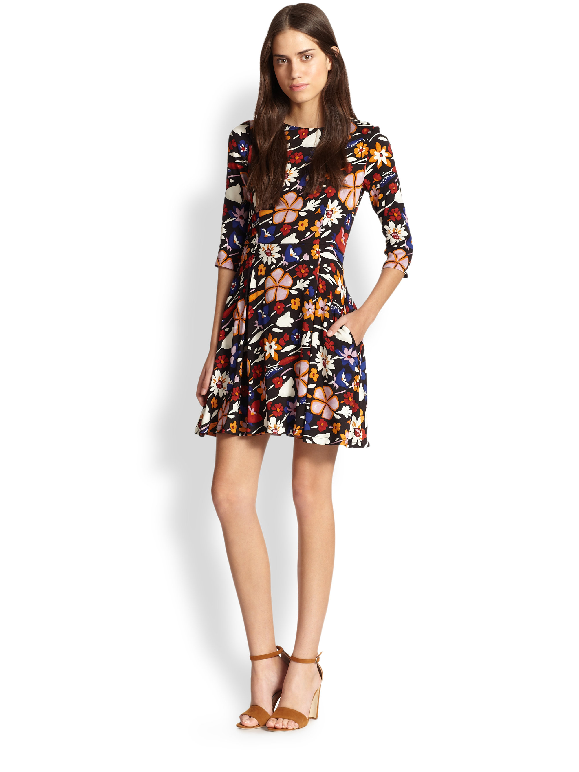 Lyst Suno Floral Fit Flare Dress In Brown