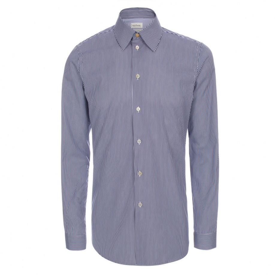 Lyst paul smith men 39 s navy candy stripe cotton shirt in for Paul smith doctor who shirt