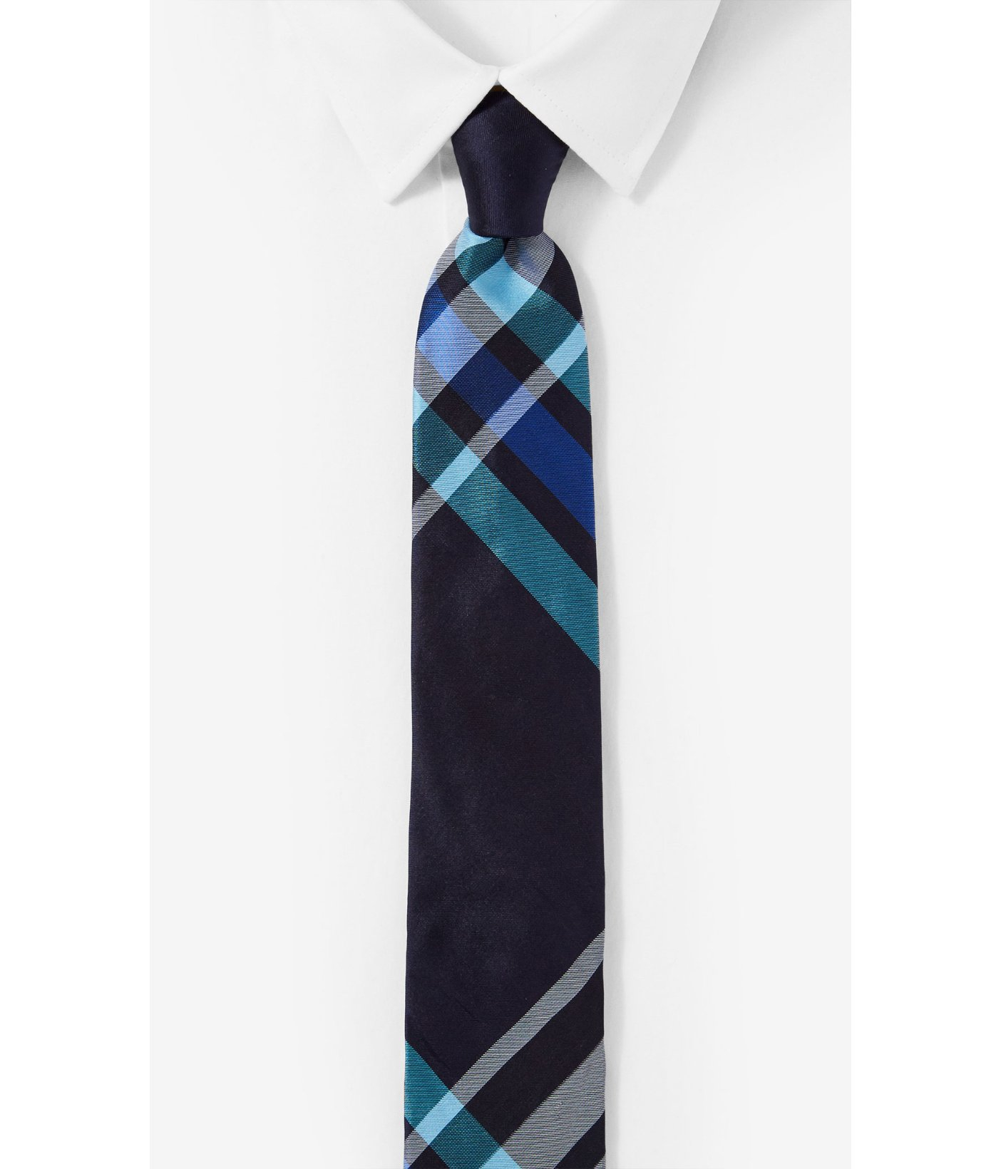 express narrow silk tie plaid in blue for turquoise