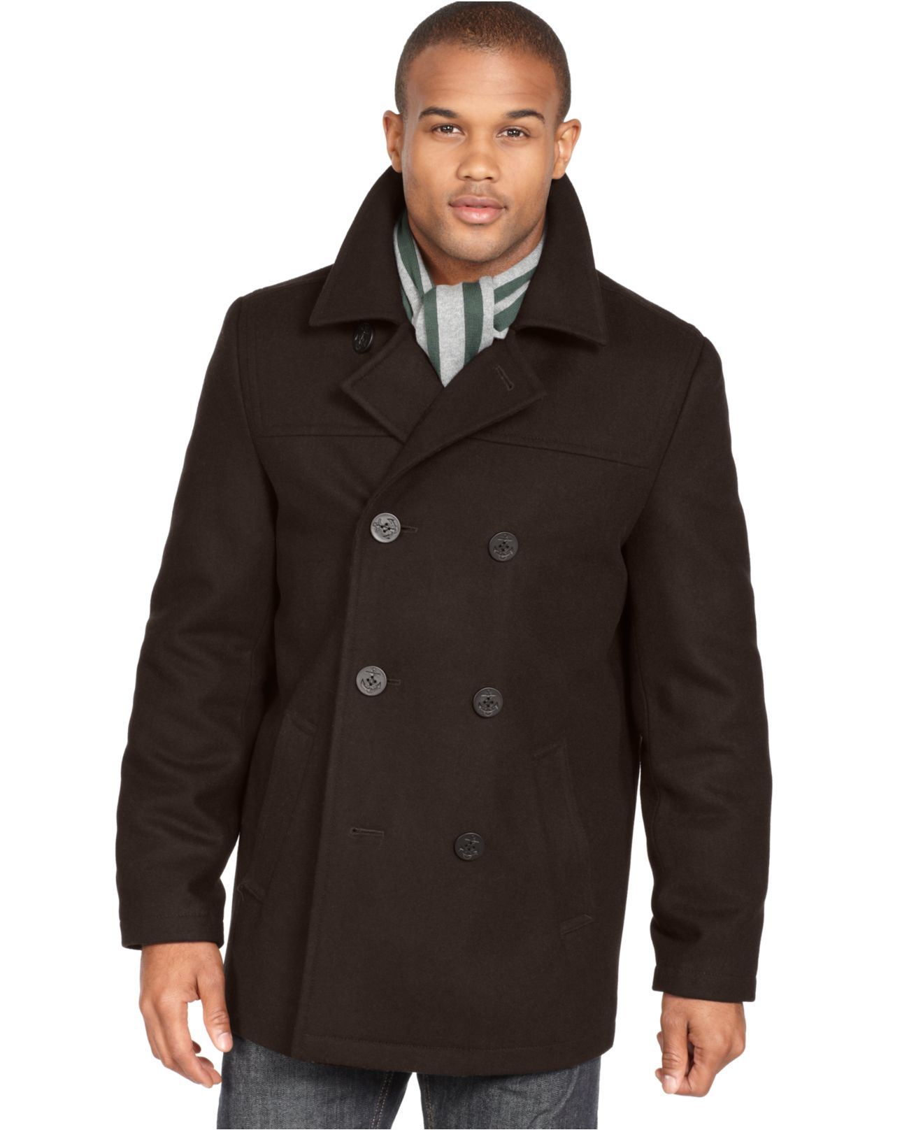 Tommy hilfiger Big And Tall Classic Wool-Blend Pea Coat in Black ...