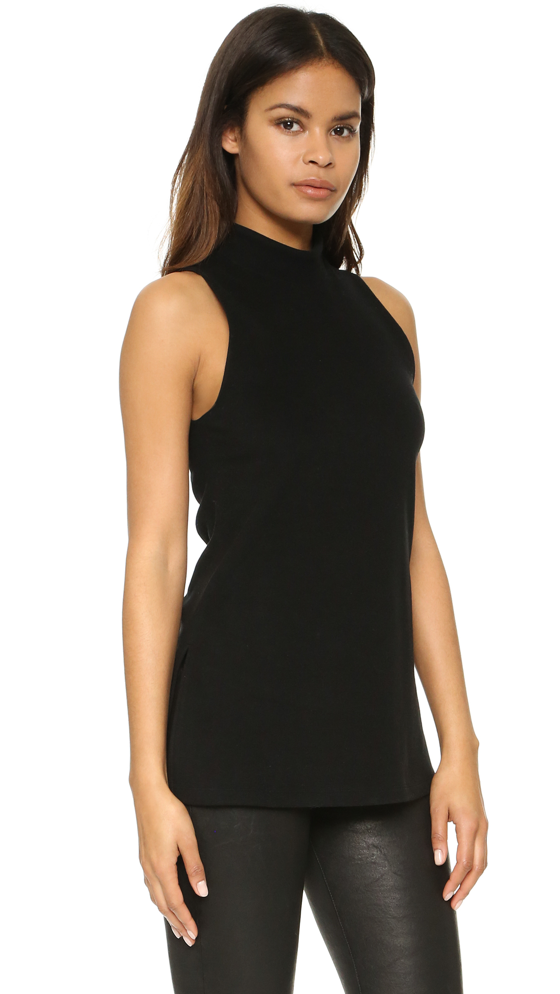 Lyst james perse sleeveless mock neck top in black for Sleeveless mock turtleneck shirts