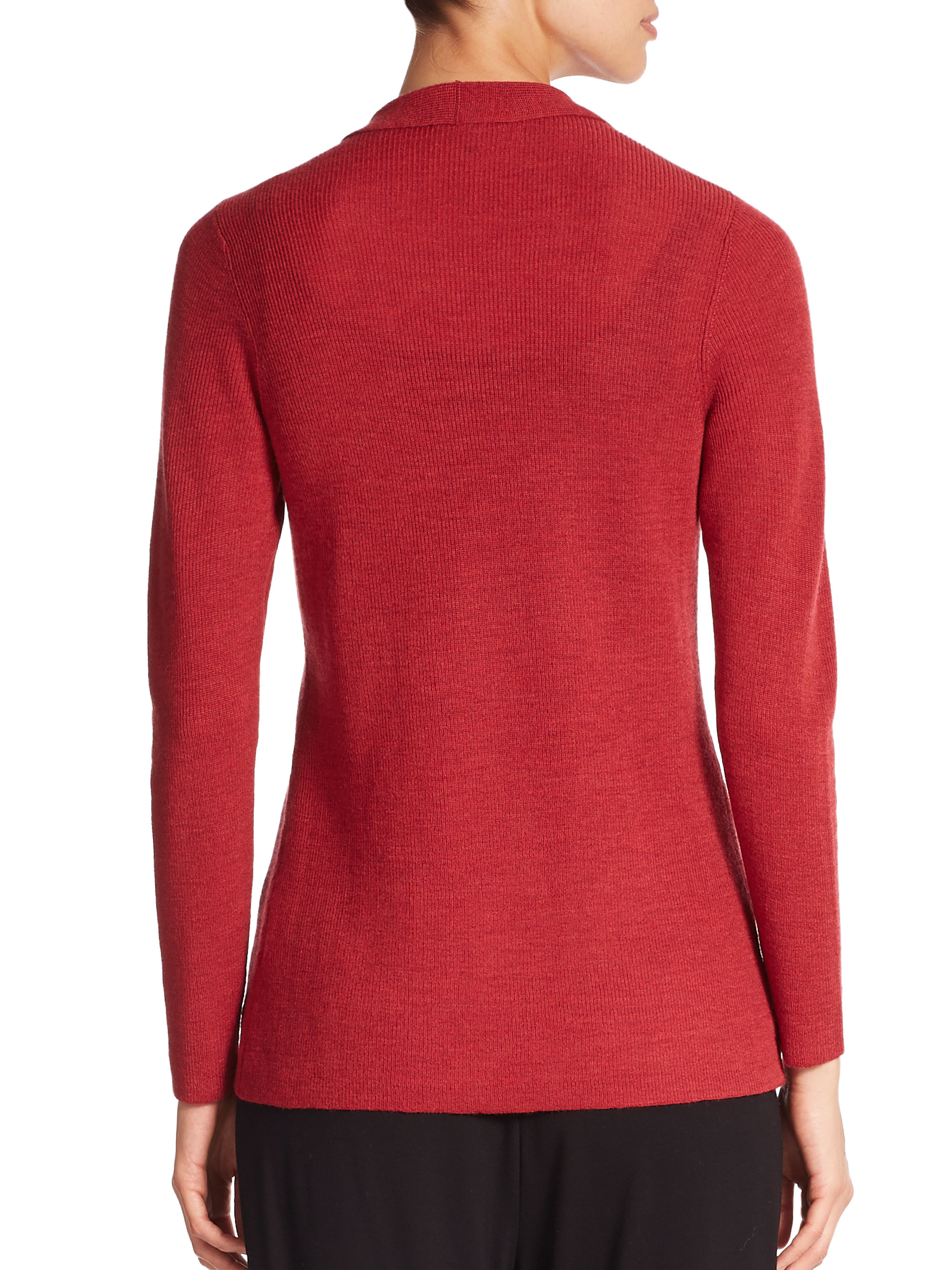 Lyst - Eileen Fisher Merino Wool Ribbed Long Cardigan in Red