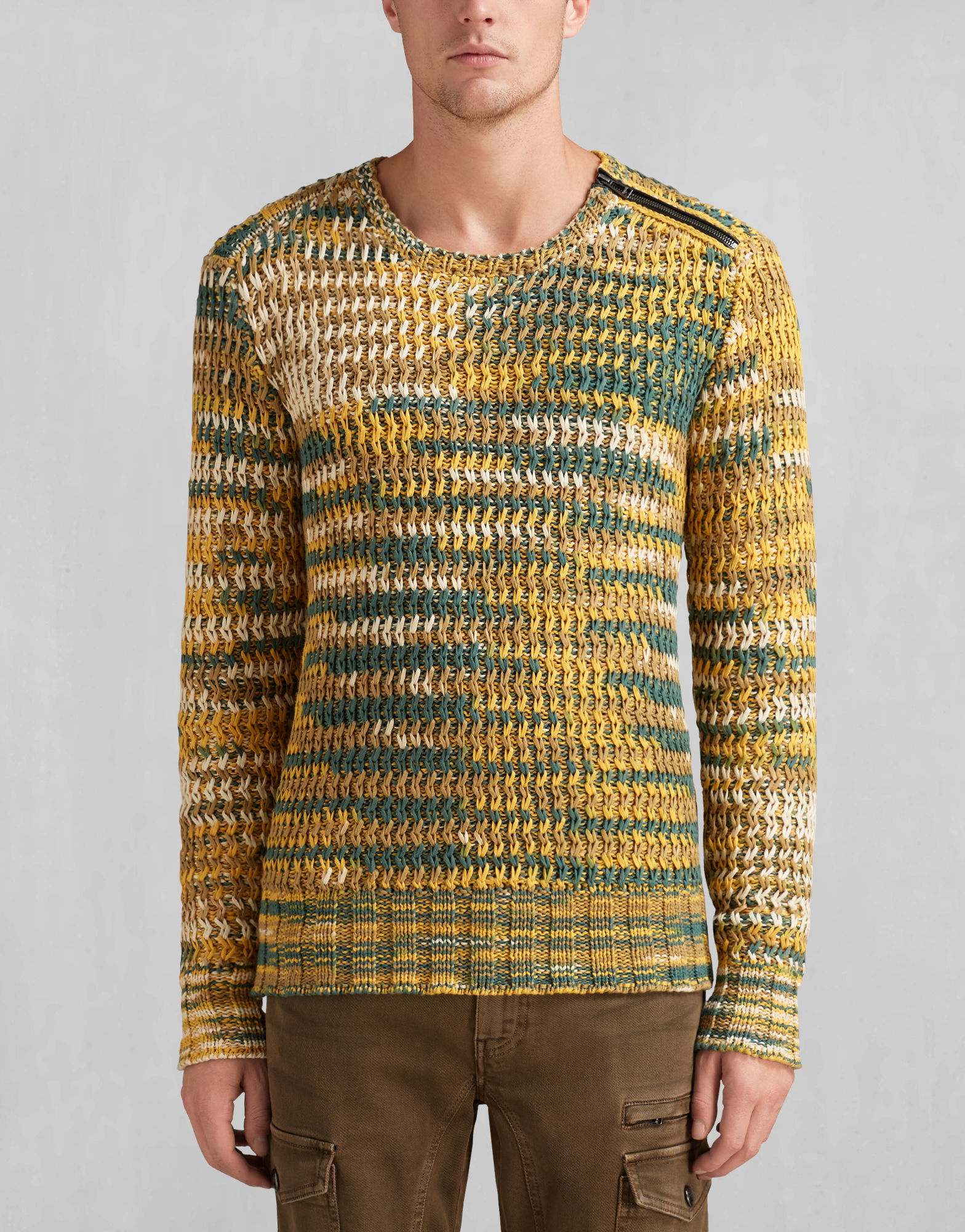 Belstaff Keeley Crewneck Sweater In Bright Mustard Marled Cotton ...