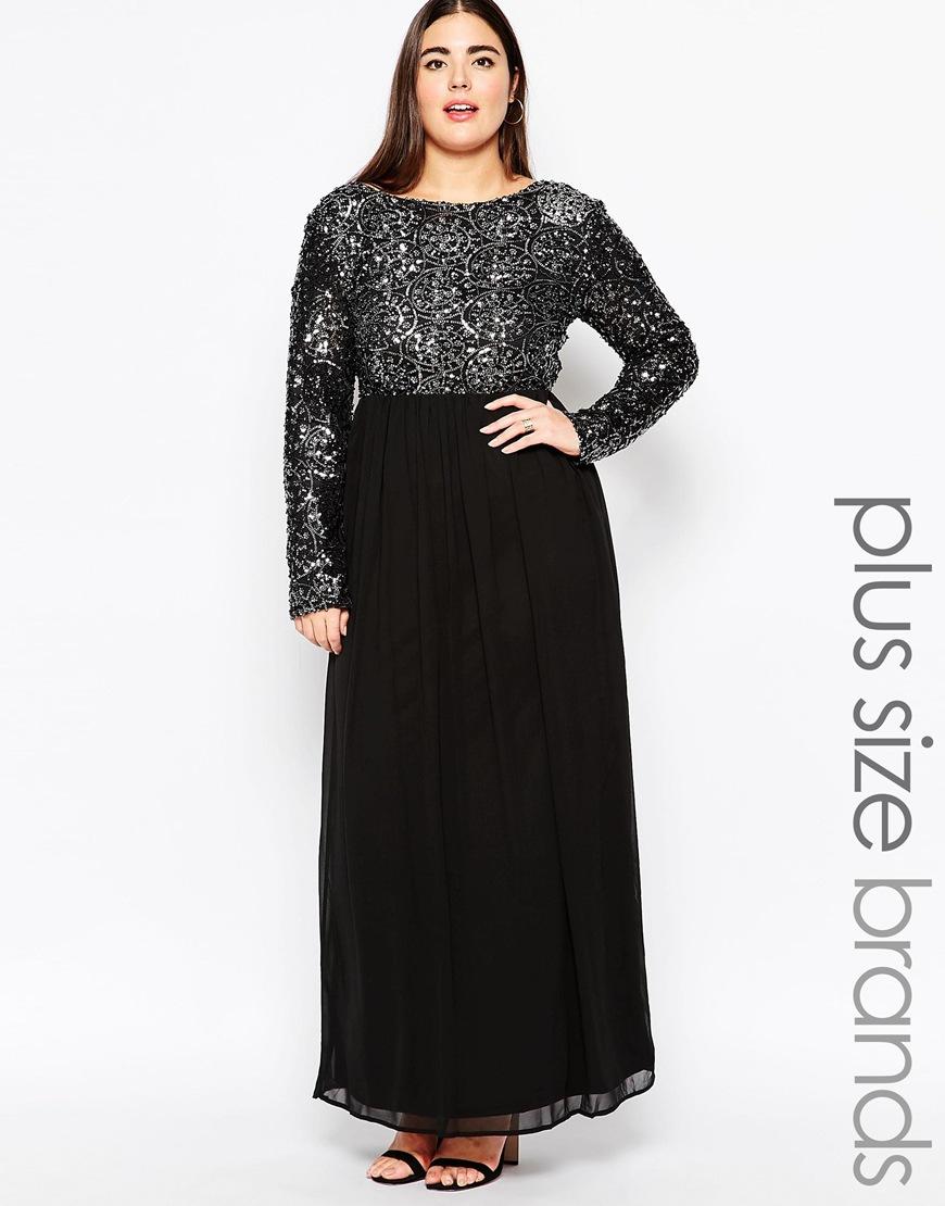 a33189dc6ce35 Lyst - Club L Plus Size Maxi Dress With Geometric Sequin Top in Black