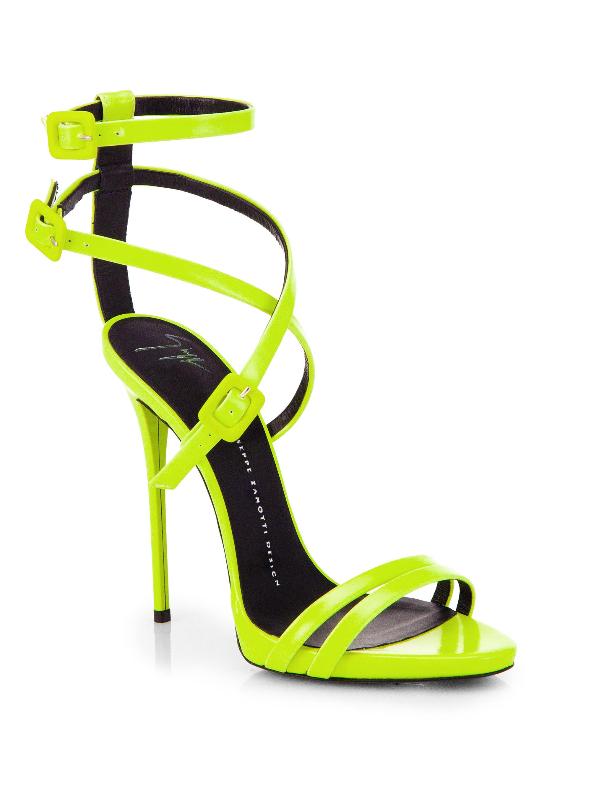 ba2e4a8b231 ... get lyst giuseppe zanotti leather skinny strap sandals in green 22cbd  4e2a7