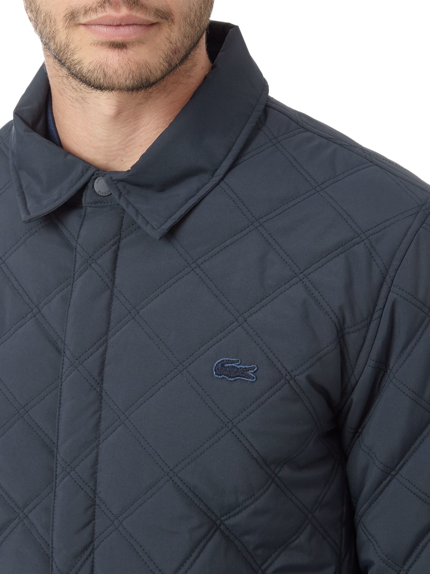 lyst lacoste diamond quilted jacket in blue for men. Black Bedroom Furniture Sets. Home Design Ideas