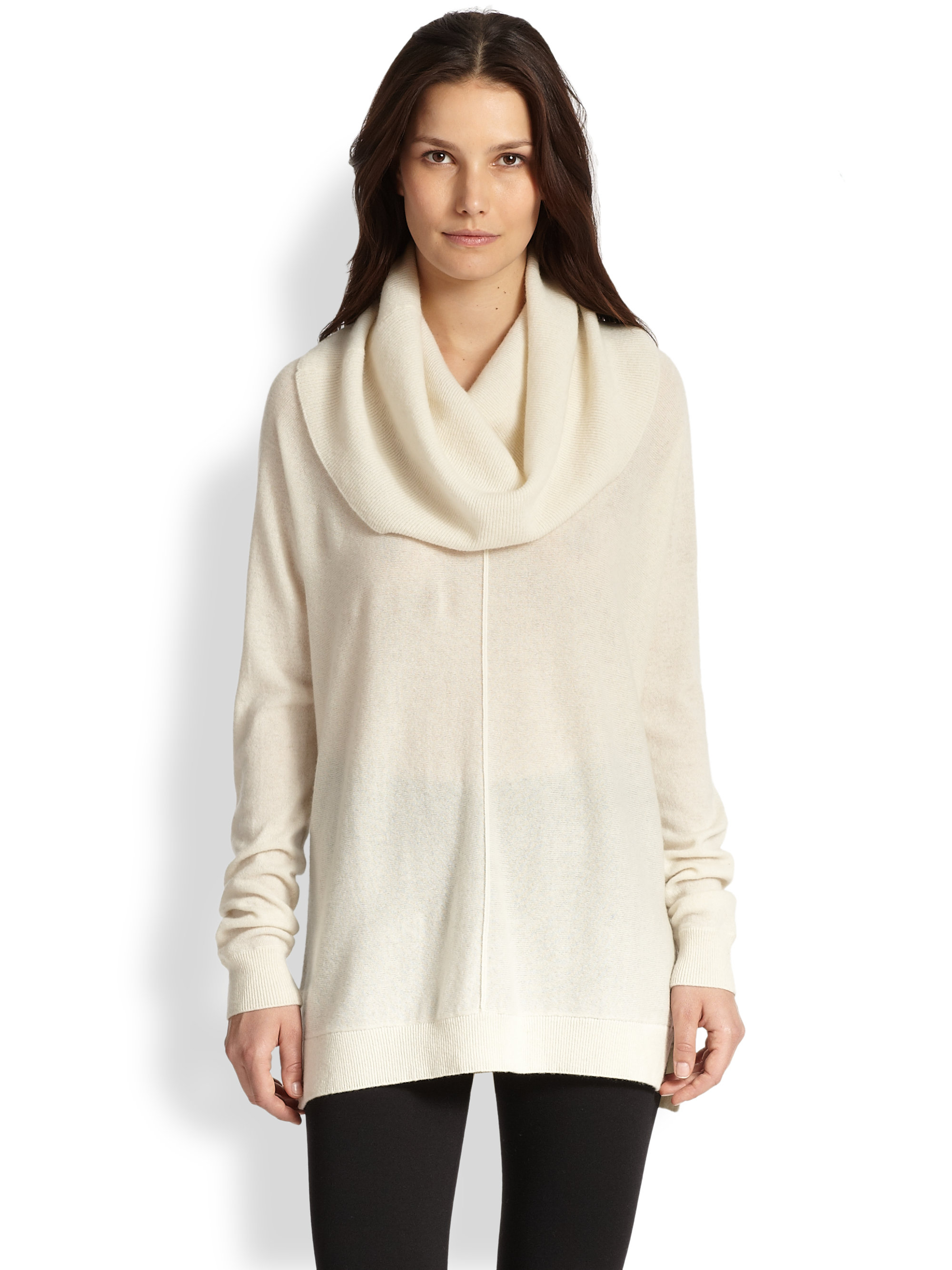 4b5f352ecdb2a Lyst - Vince Wool   Cashmere Draped Turtleneck Sweater in Natural