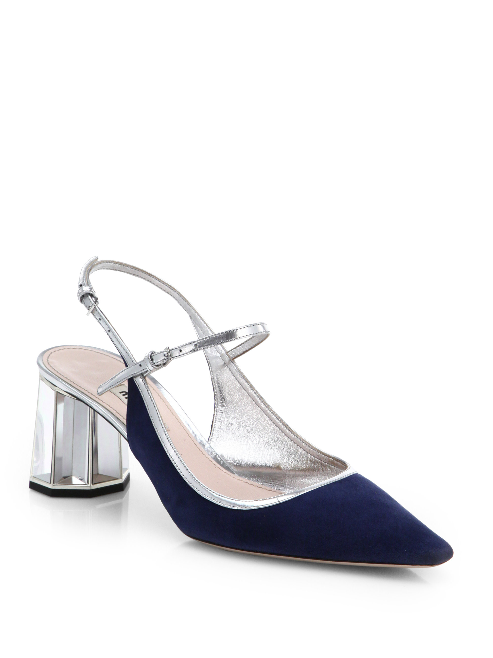 Lucite Heel Leather Shoes