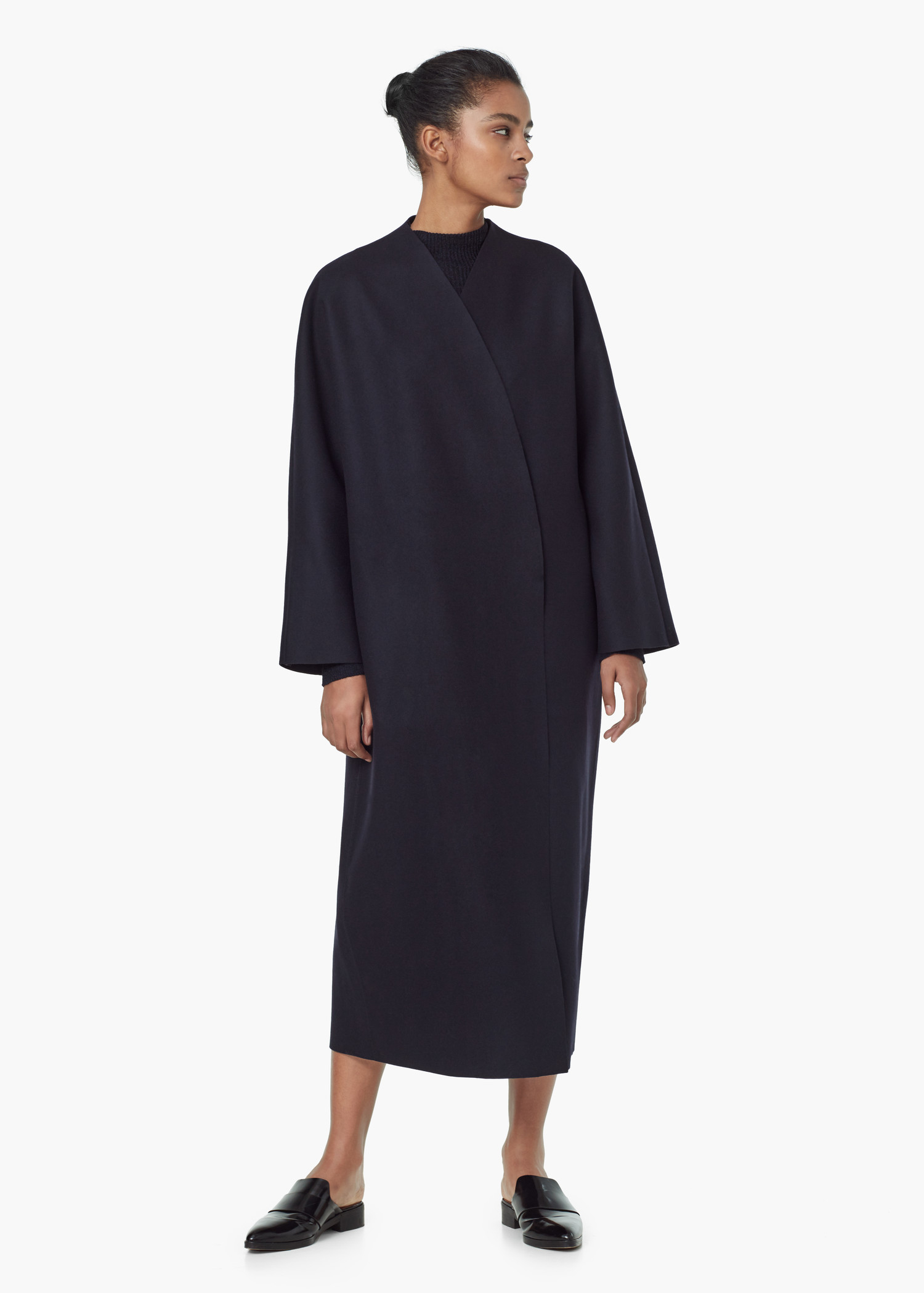 Mango Premium - Long Wool Coat in Blue | Lyst