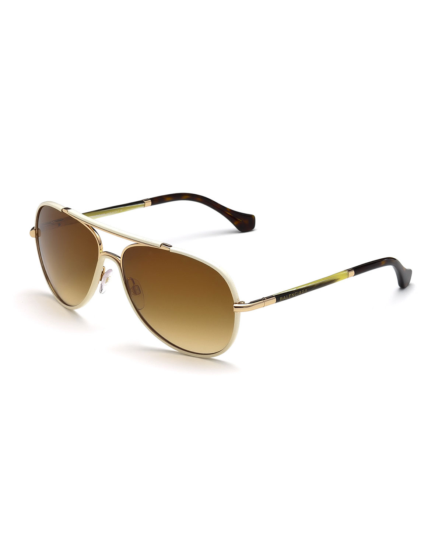 218bca1a3 Balenciaga Leather-covered Aviator Sunglasses in White - Lyst
