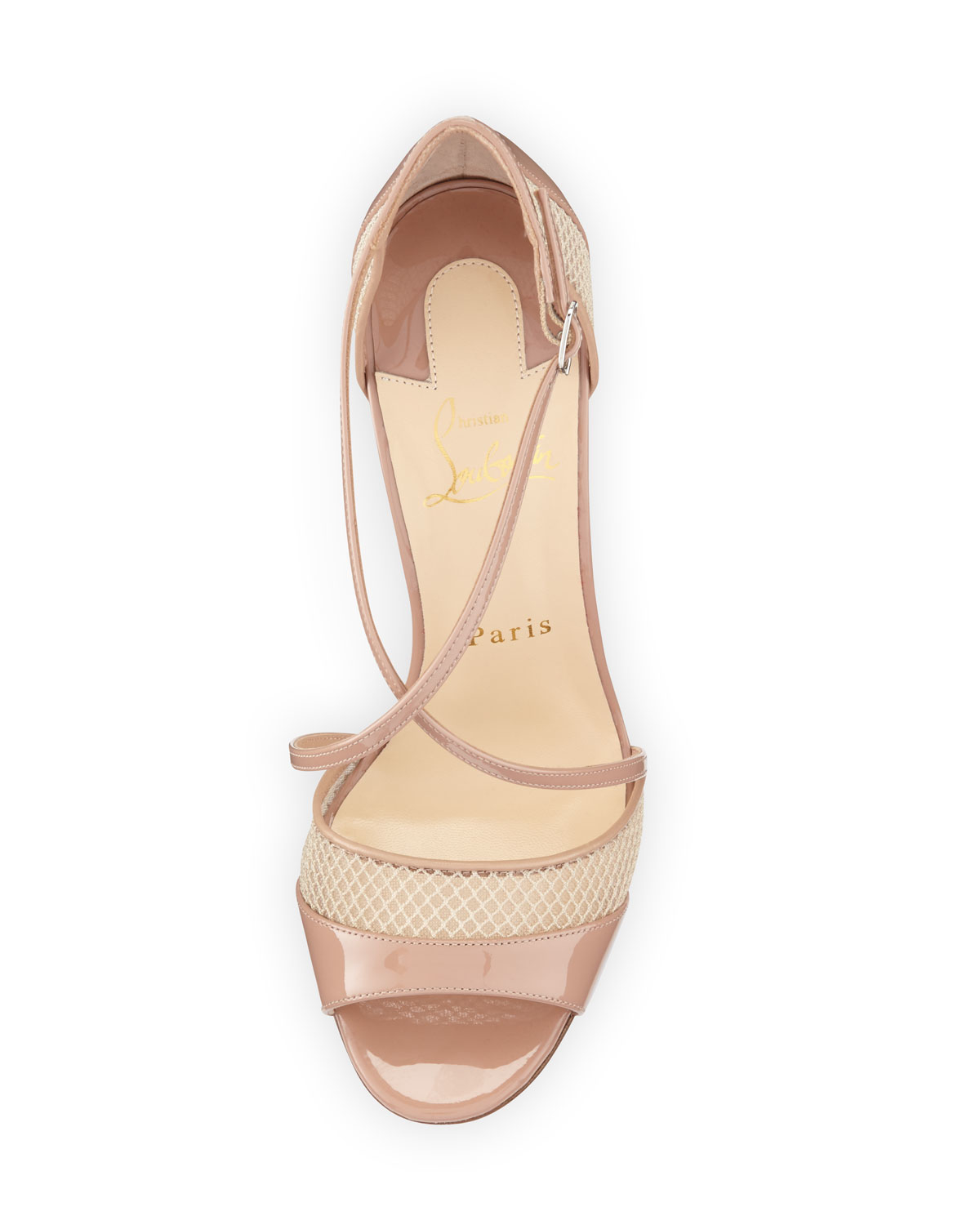 christian louboutin mens sneakers sale - Christian louboutin Slikova Patent and Mesh Sandals in Beige (NUDE ...