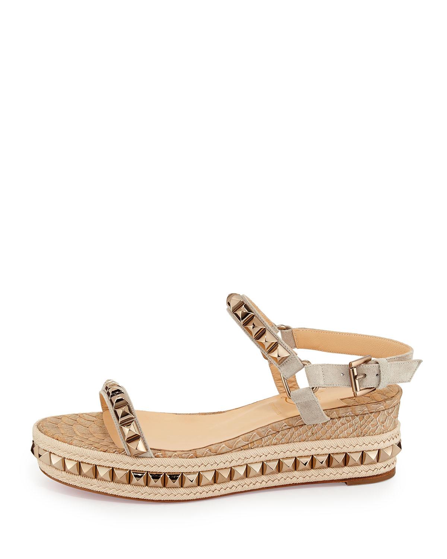 christian louboutins shoes for men - christian louboutin slide espadrille wedges Metallic gold canvas ...