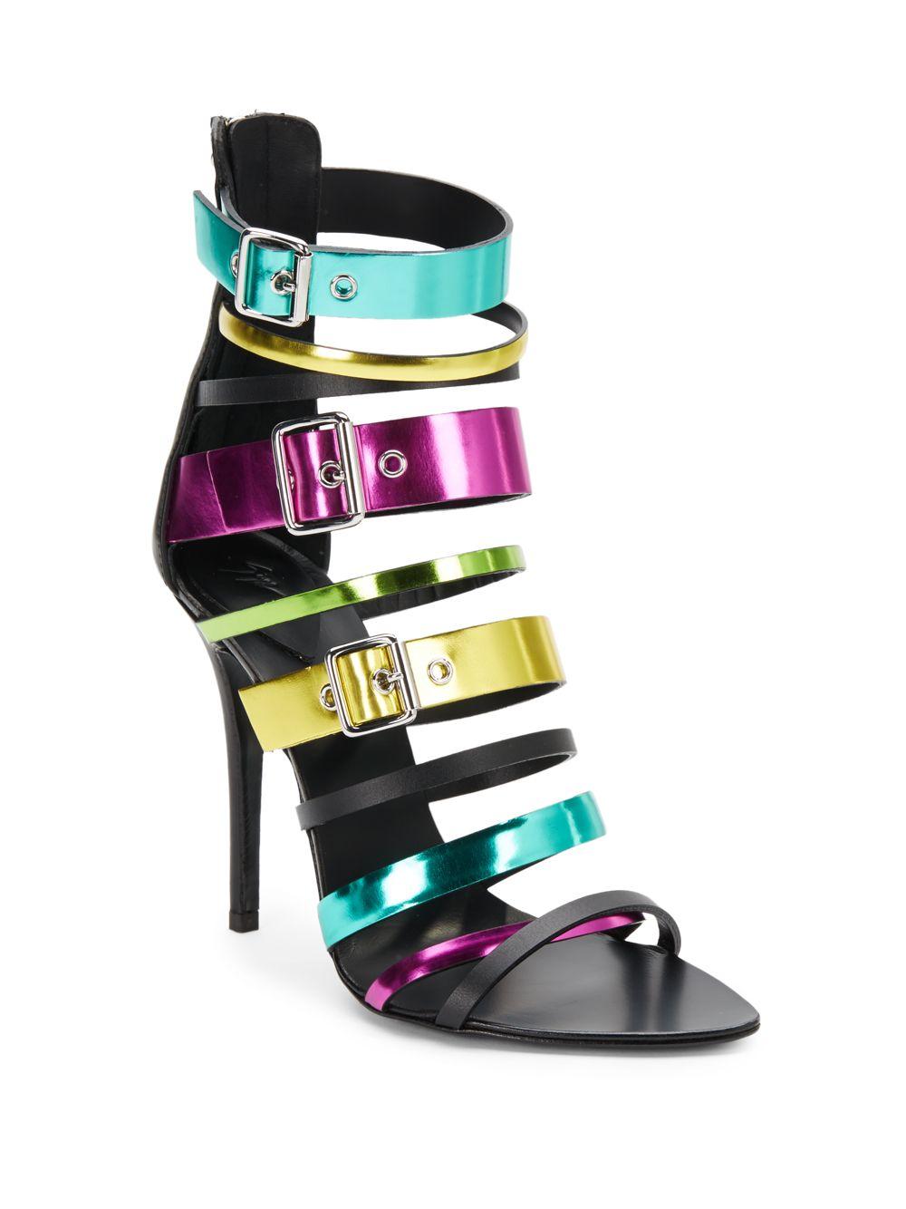 Giuseppe Zanotti Multicolored Metallic Leather multicolor Sandals