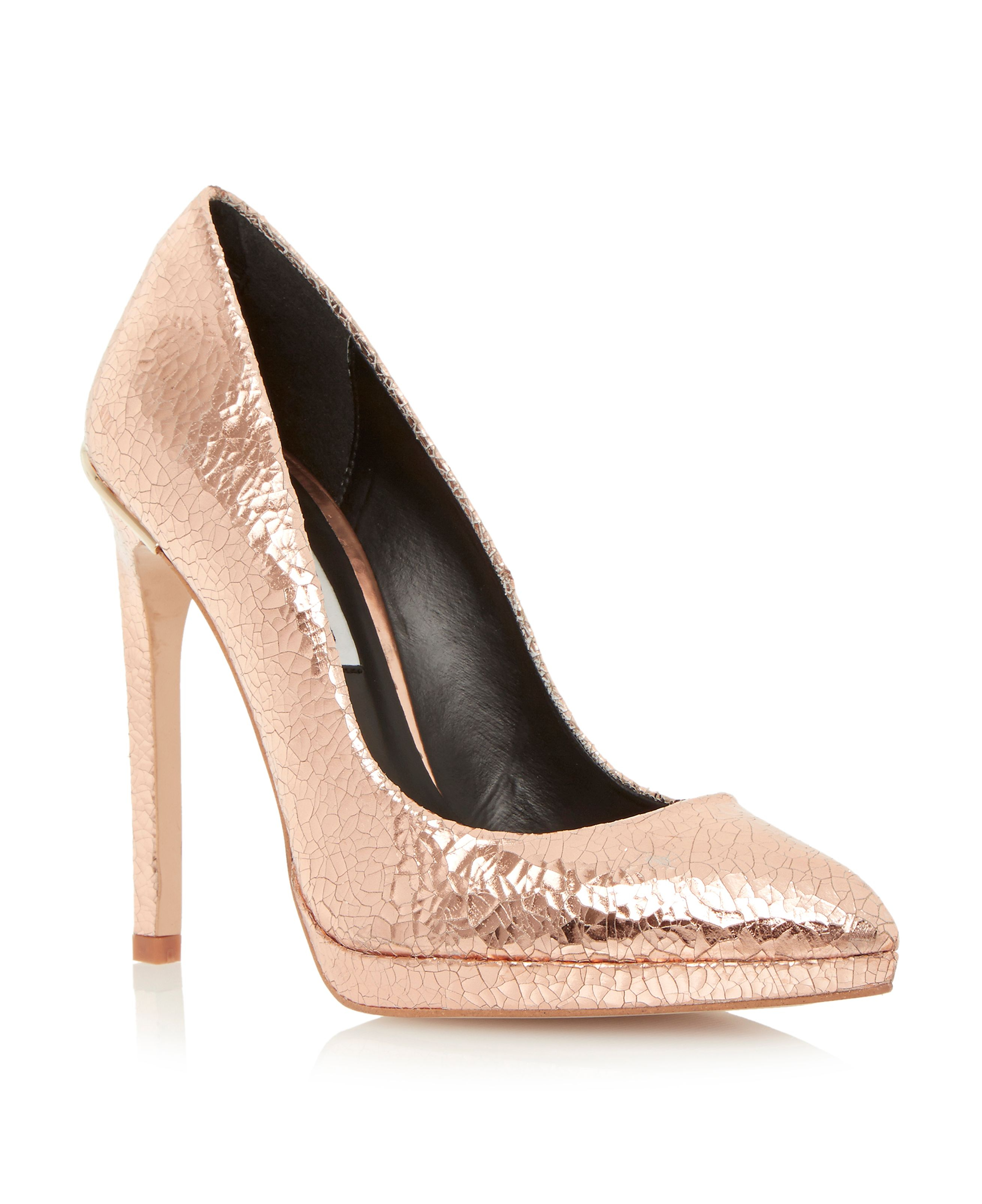 dune arabella platform court shoe in metallic lyst
