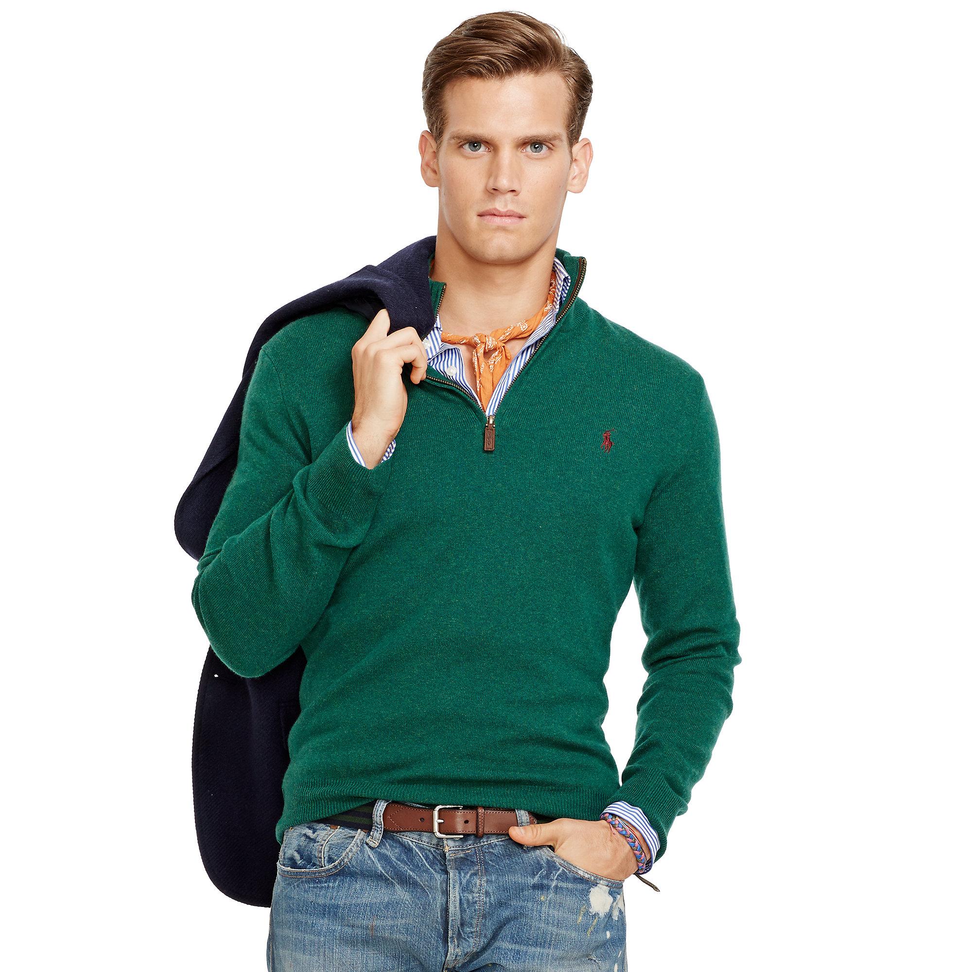 b222afbba Lyst - Polo Ralph Lauren Merino Wool Half-Zip Sweater in Green for Men