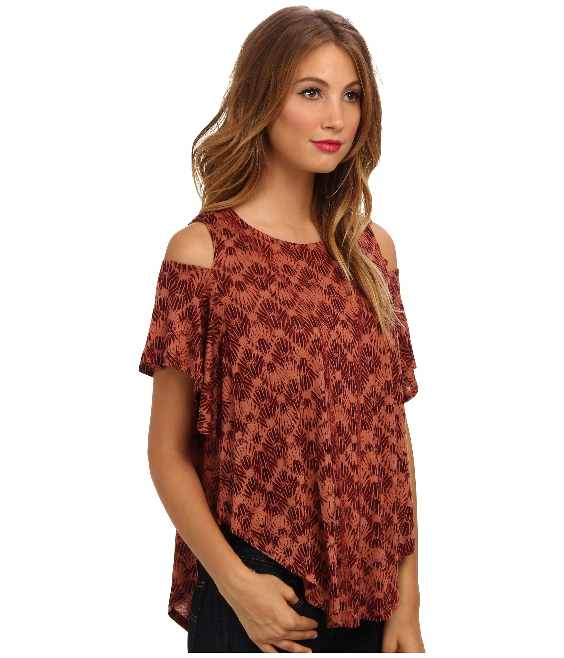 0052b84c4b0bba Lyst - Free People Printed Cold Shoulder Top in Orange