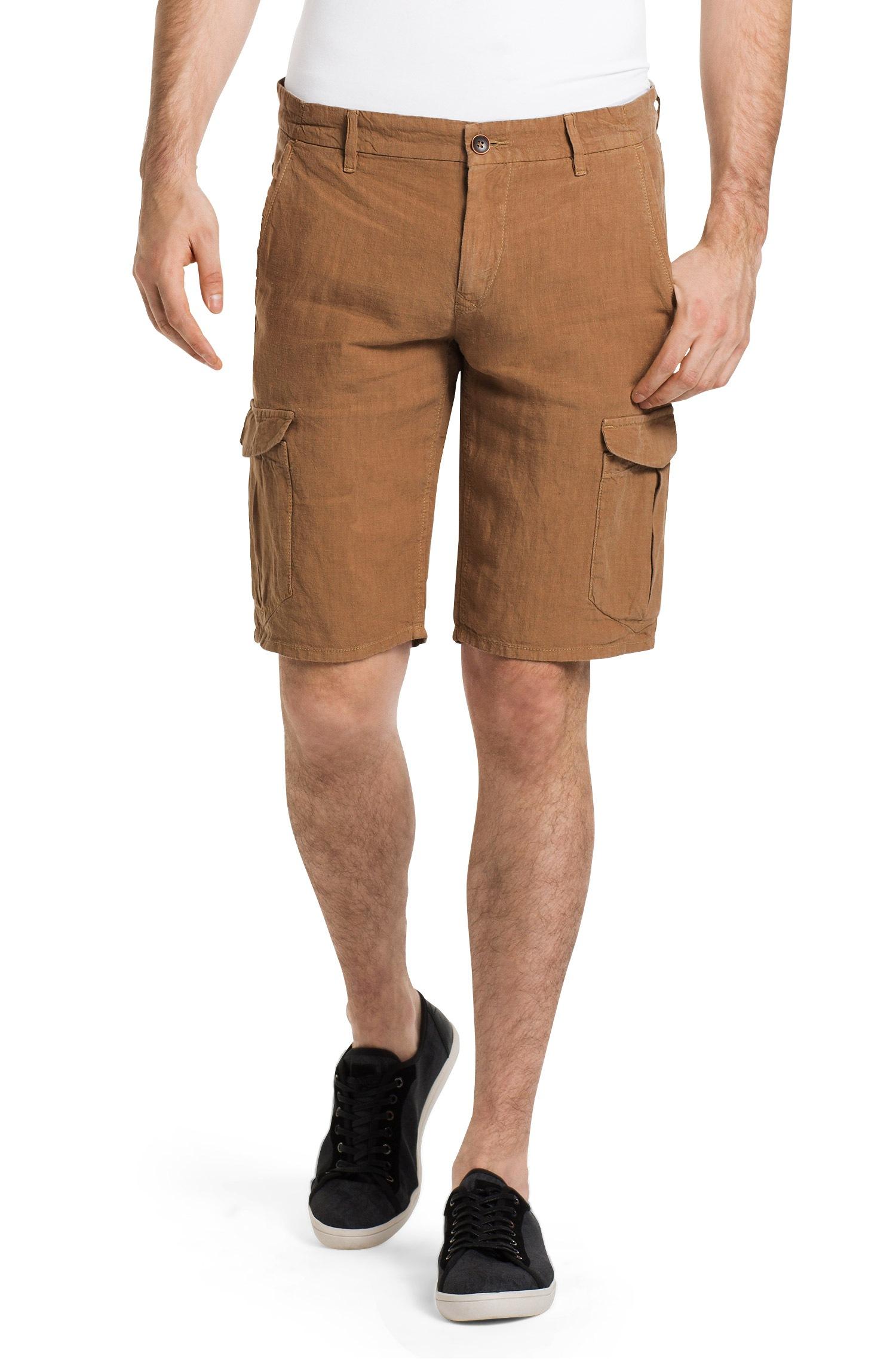 Boss orange 'schwinn'   Regular Fit Linen Cargo Shorts in Natural ...
