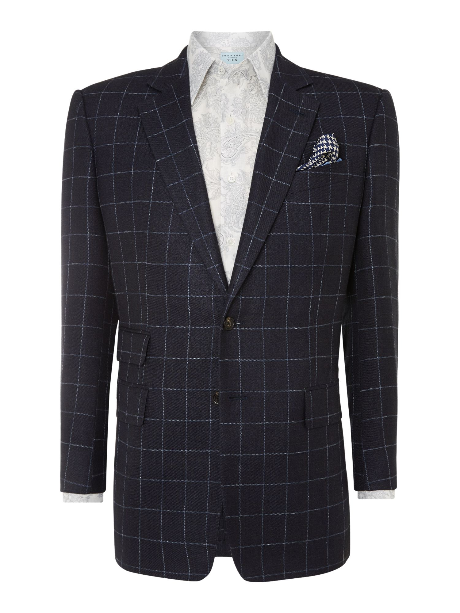 Chester barrie Classic Overcheck Jacket in Blue for Men