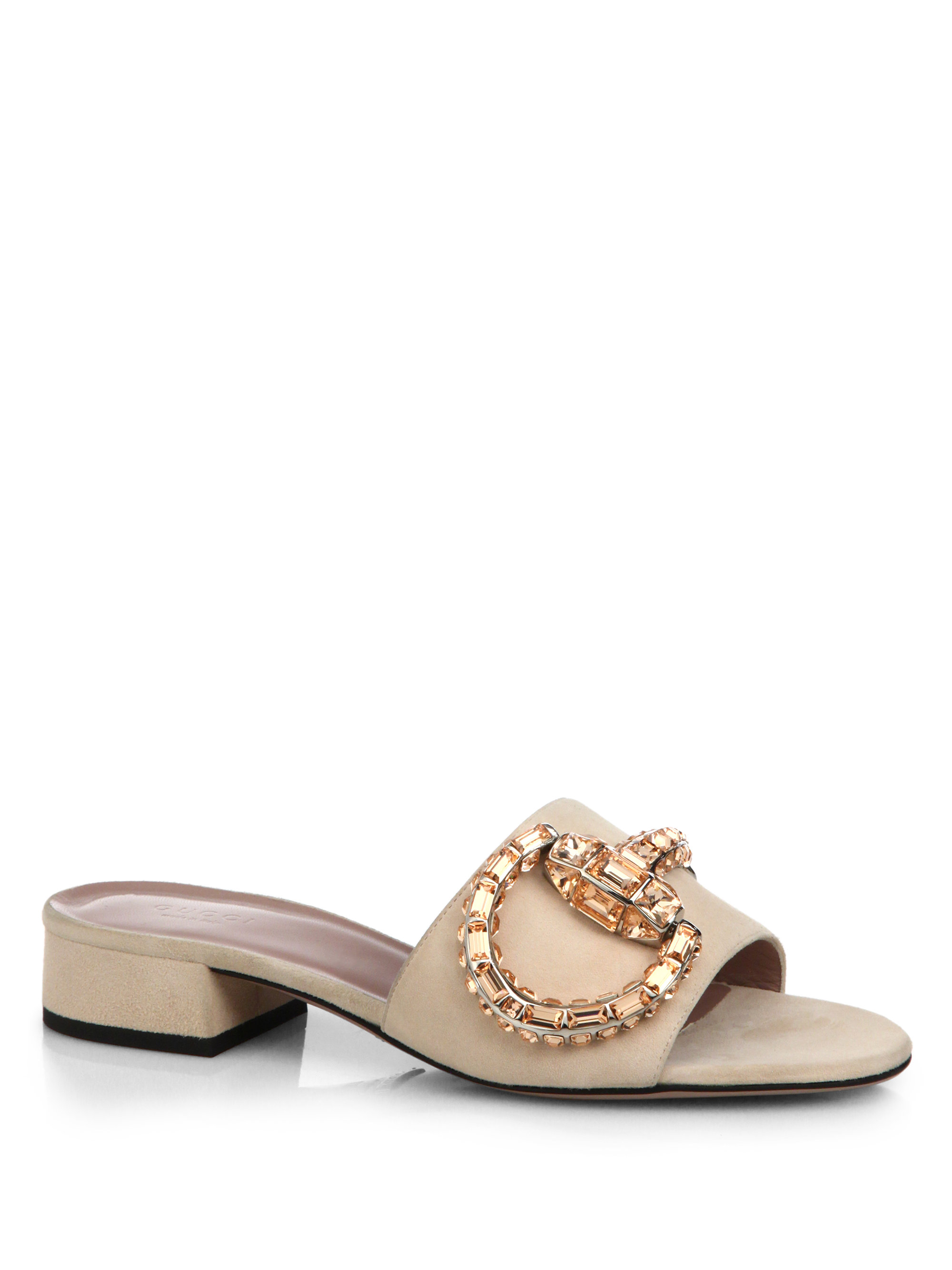 aa1dcd3e136 Lyst - Gucci Maxime Crystal Suede Slides in Natural