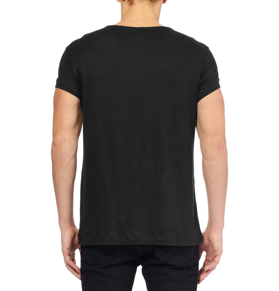 Lyst acne studios granville linen crew neck tshirt in for Plain t shirt model