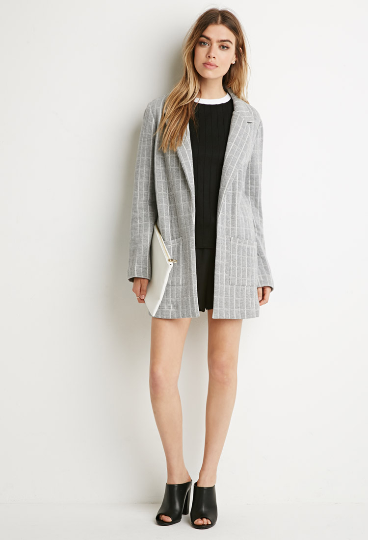 Forever 21 Longline Quilted Jacket In Gray Lyst