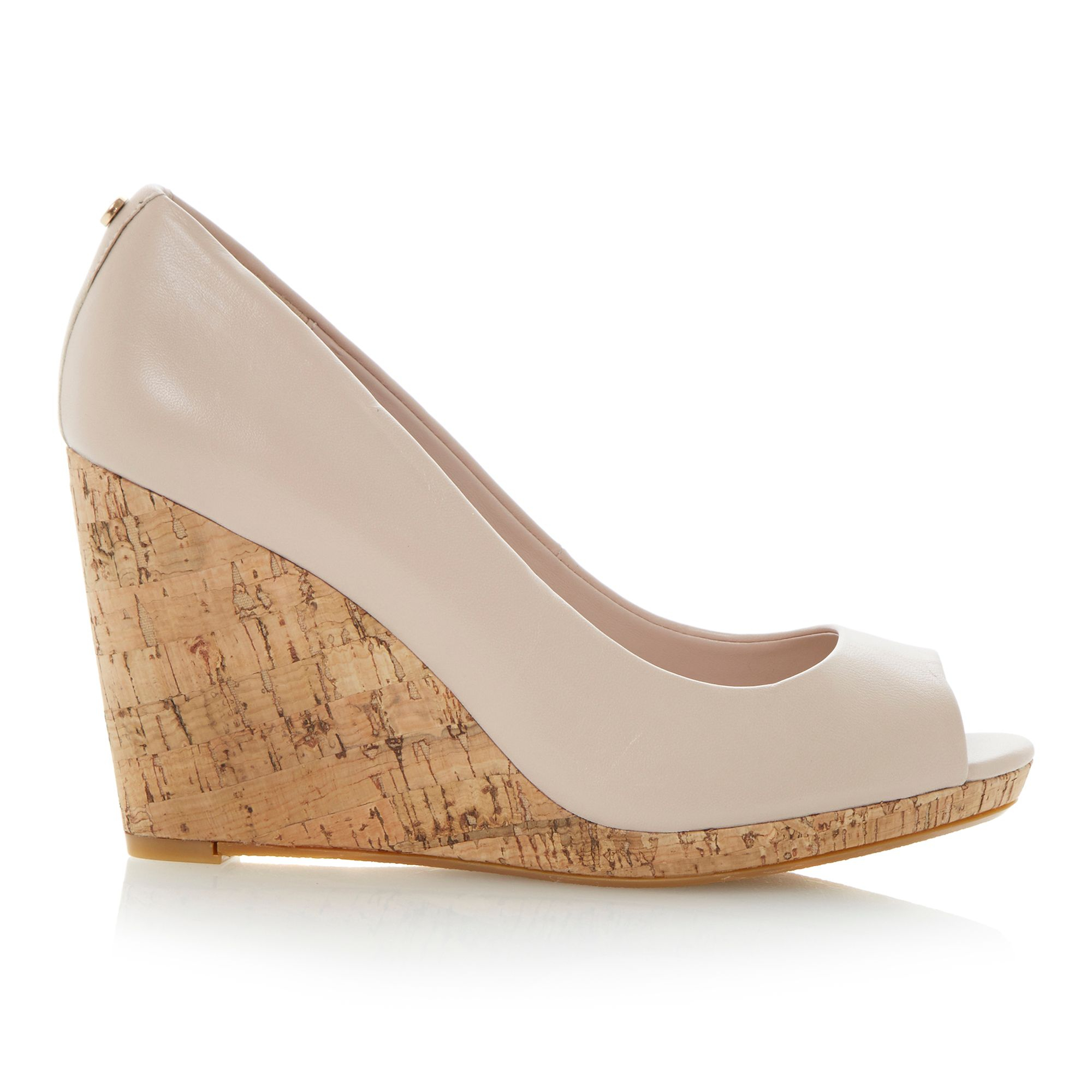 dune celia leather peeptoe wedge court shoes in pink lyst