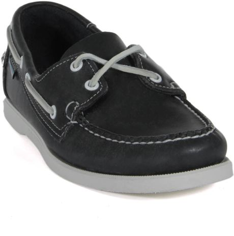 Sebago Docksides Navy Leather Boat Shoes In Blue For Men Lyst