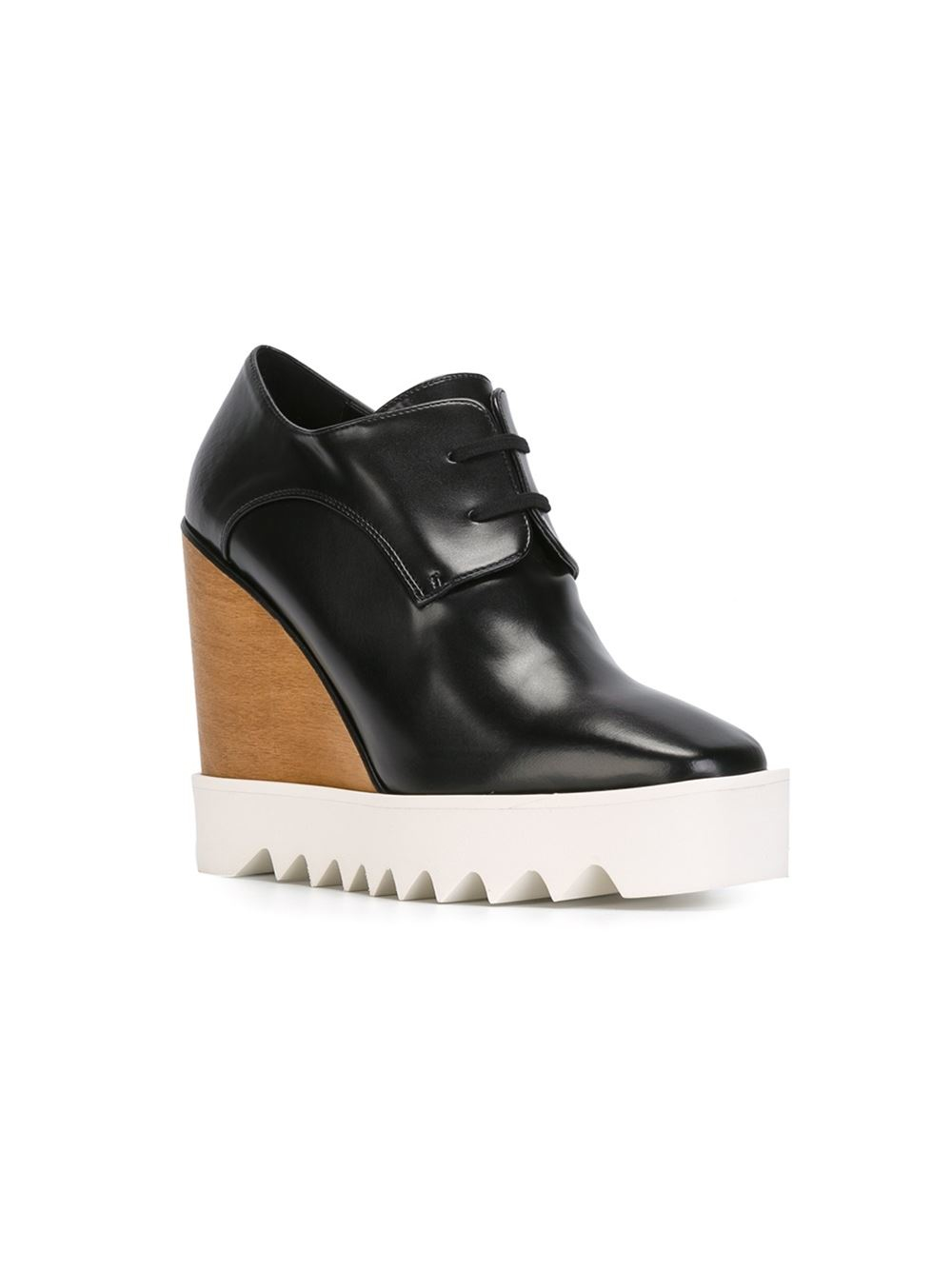 stella mccartney wedge lace up shoes in black lyst