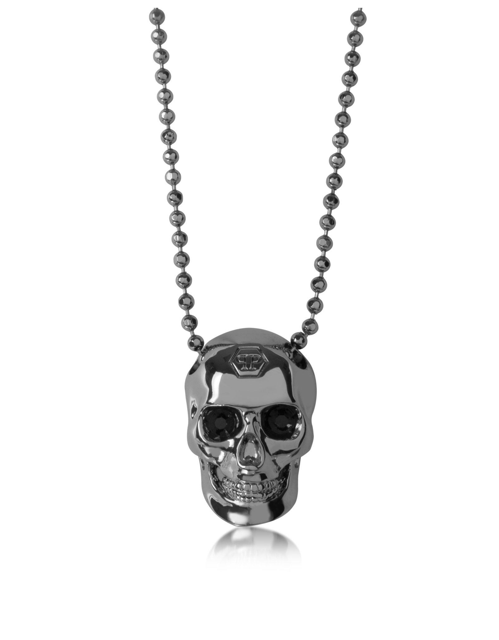 Lyst Philipp Plein BlackSilver Tone Metal Skull Necklace WBlack