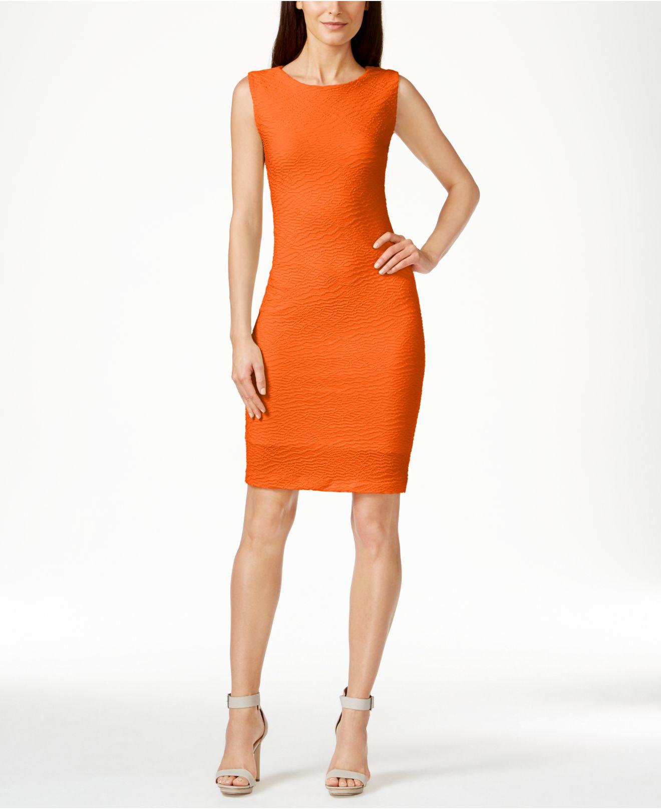 13594bb7 Calvin Klein Textured Sheath Dress in Orange - Lyst