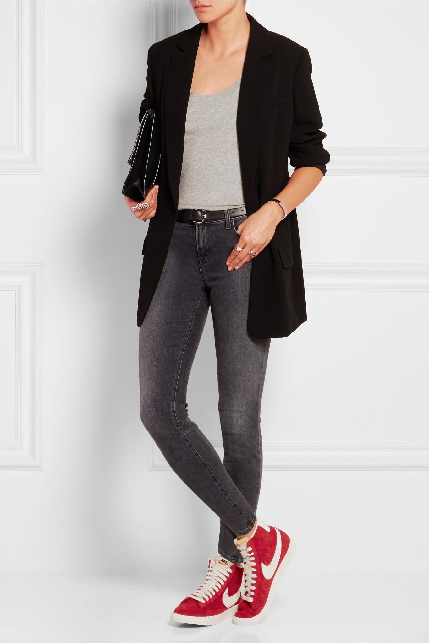 Blazer Jeans White Shoes Women