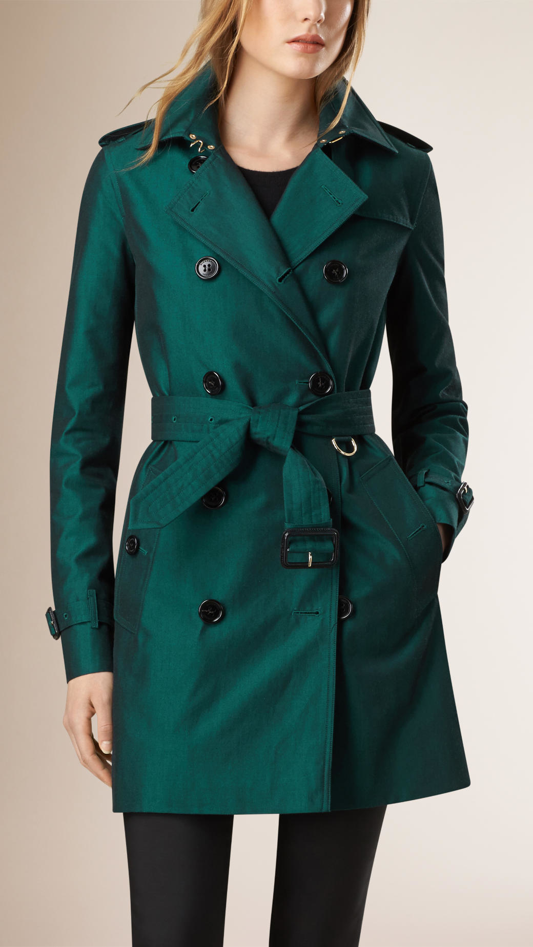 Burberry Gabardine Trench Coat With Warmer in Blue