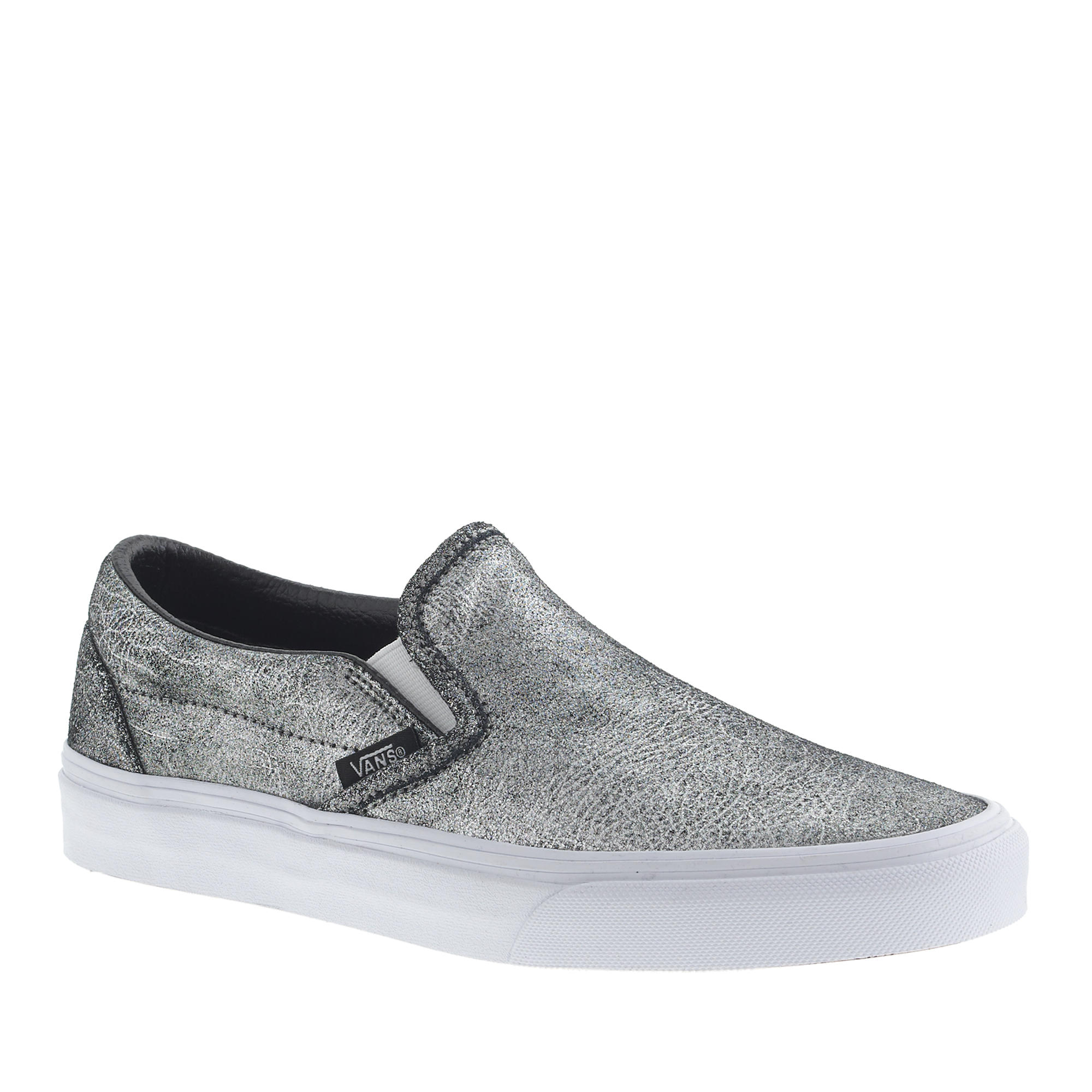 unisex vans classic slip on sneakers in metallic silver leather lyst. Black Bedroom Furniture Sets. Home Design Ideas