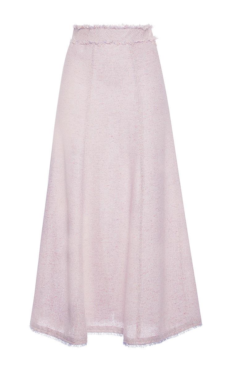 luisa beccaria tweed midi skirt in pink lyst