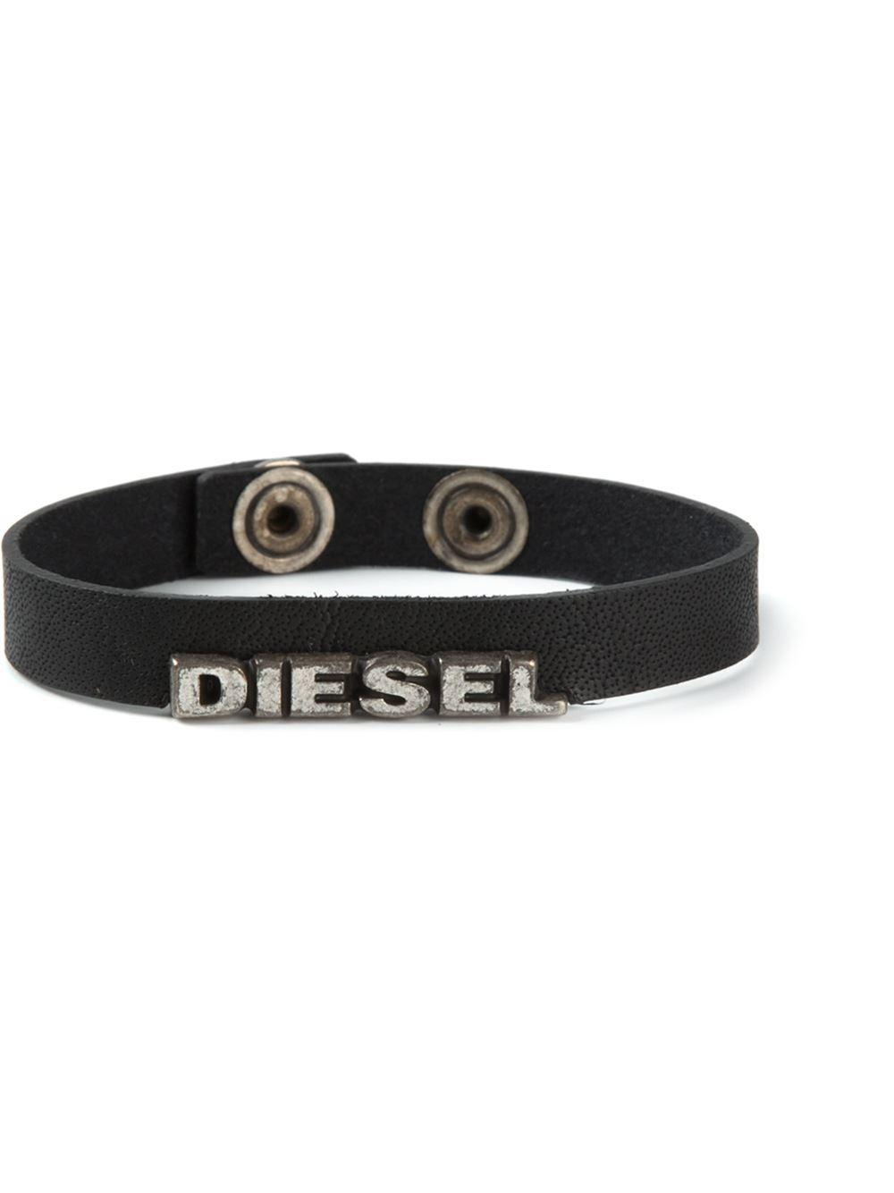 lyst diesel logo bracelet in black for men