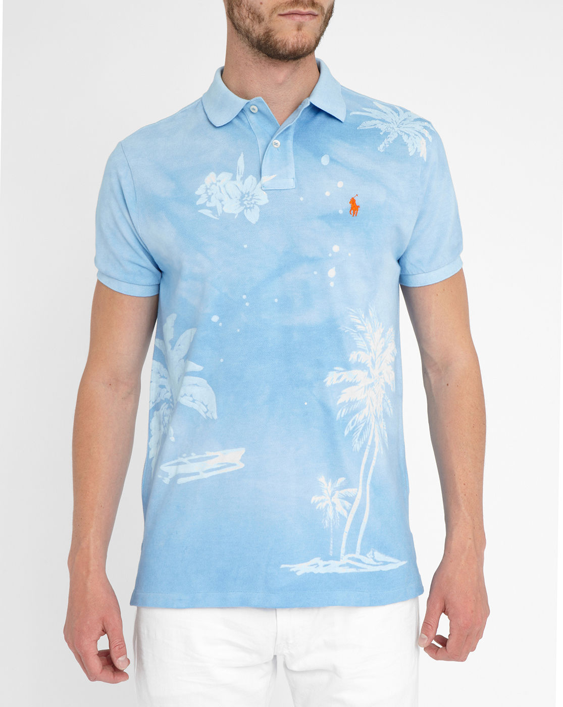Polo Ralph Lauren Blue Tie And Dye Flowers Polo Shirt In