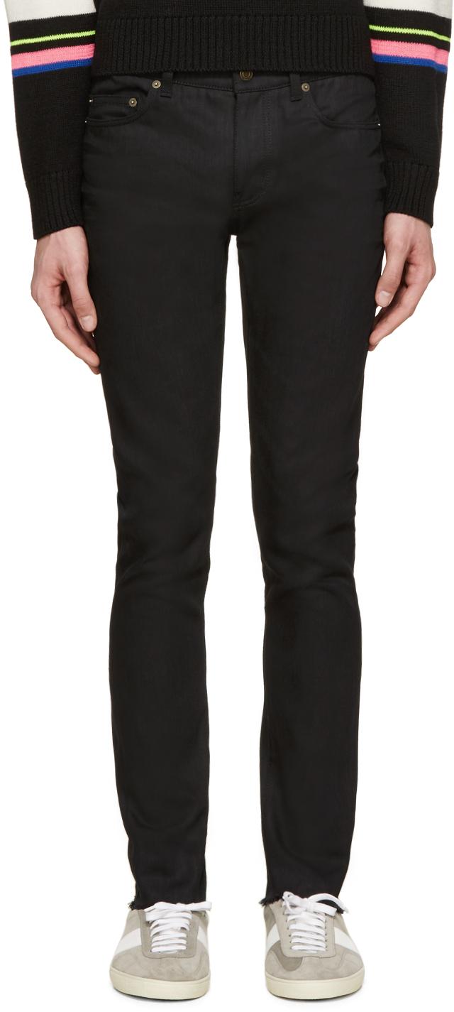45d46d8e983 Saint Laurent Black Raw Edge Skinny Jeans in Black for Men - Lyst