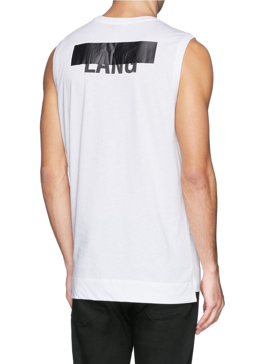 382cac4a348269 Lyst - Helmut Lang Logo Band Print Tank Top in White for Men