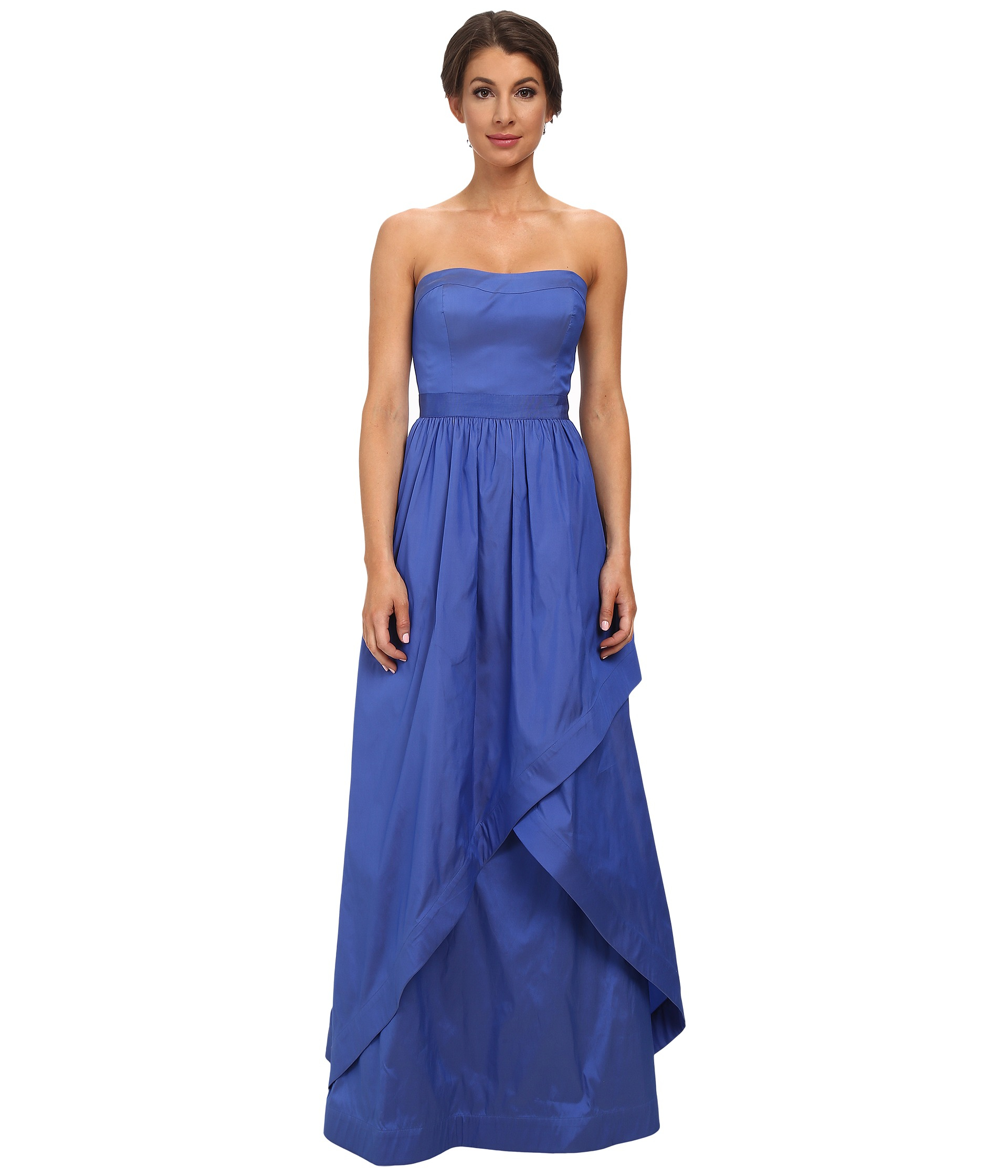 Lyst - Adrianna Papell Strapless Taffeta Ball Gown W/ Cross Skirt ...