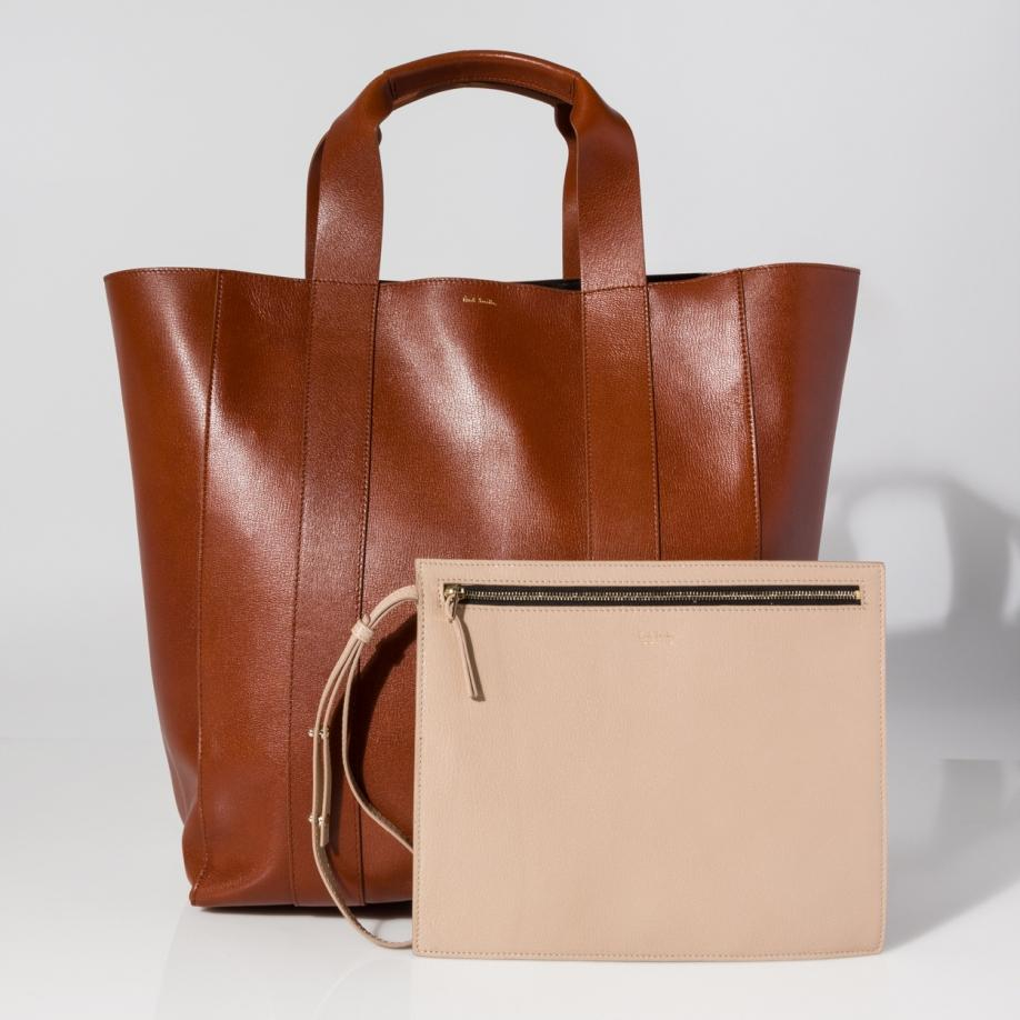 Paul smith Women's Tan Leather Tote Bag With Removable Pochette in ...