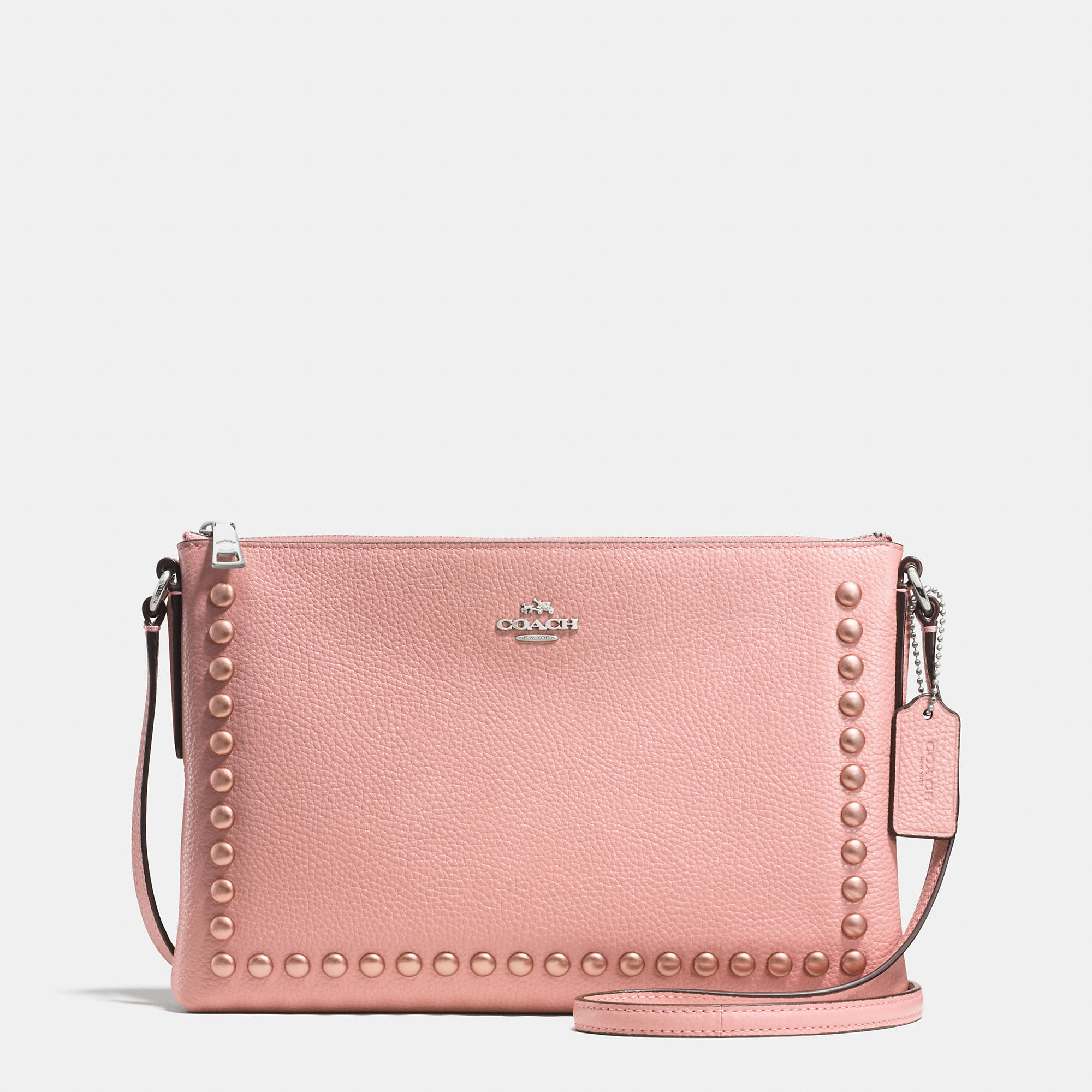 lyst coach lacquer rivets journal crossbody in pebble leather in pink rh lyst com