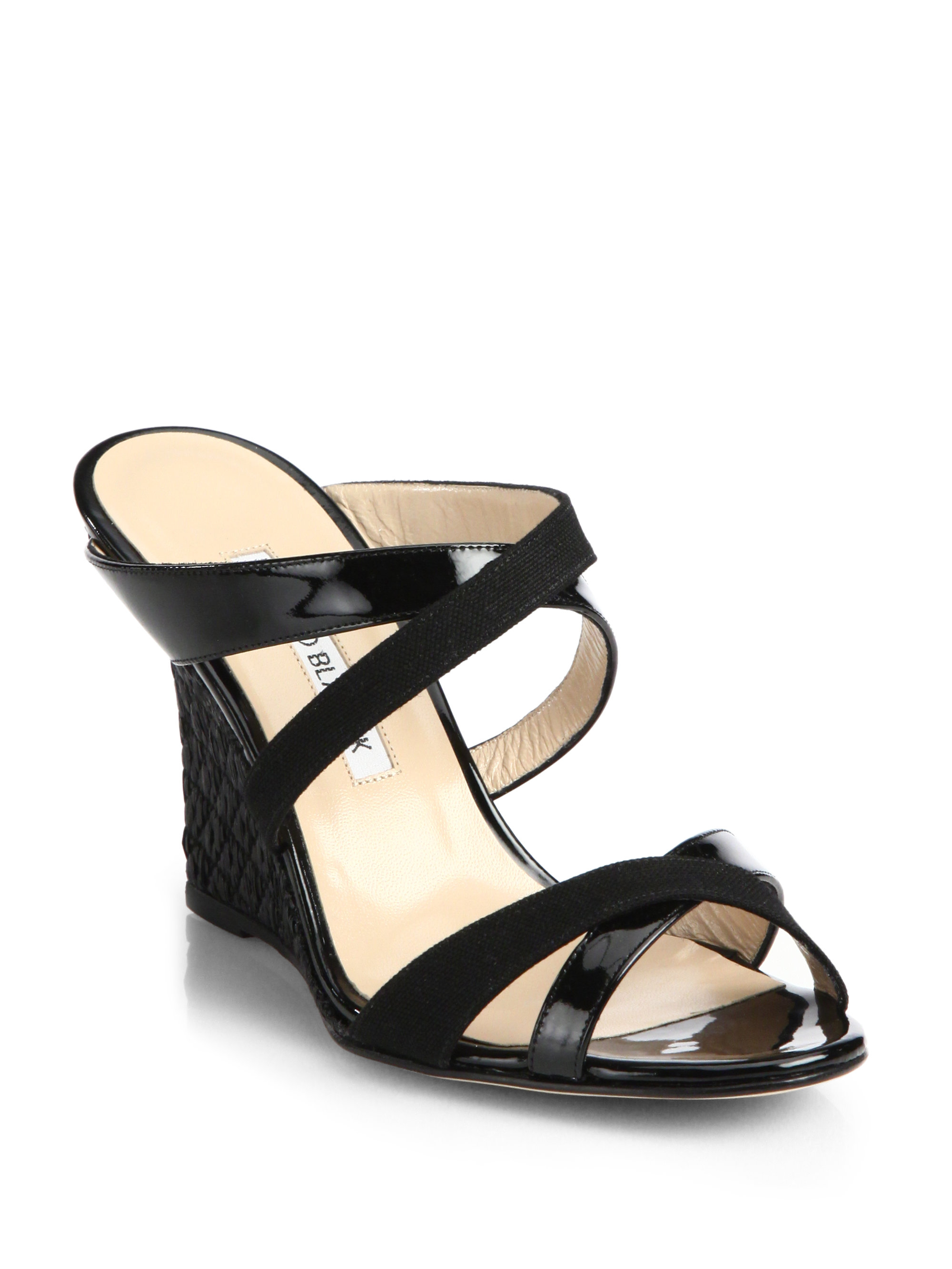 manolo blahnik strappy wedge sandals in black lyst