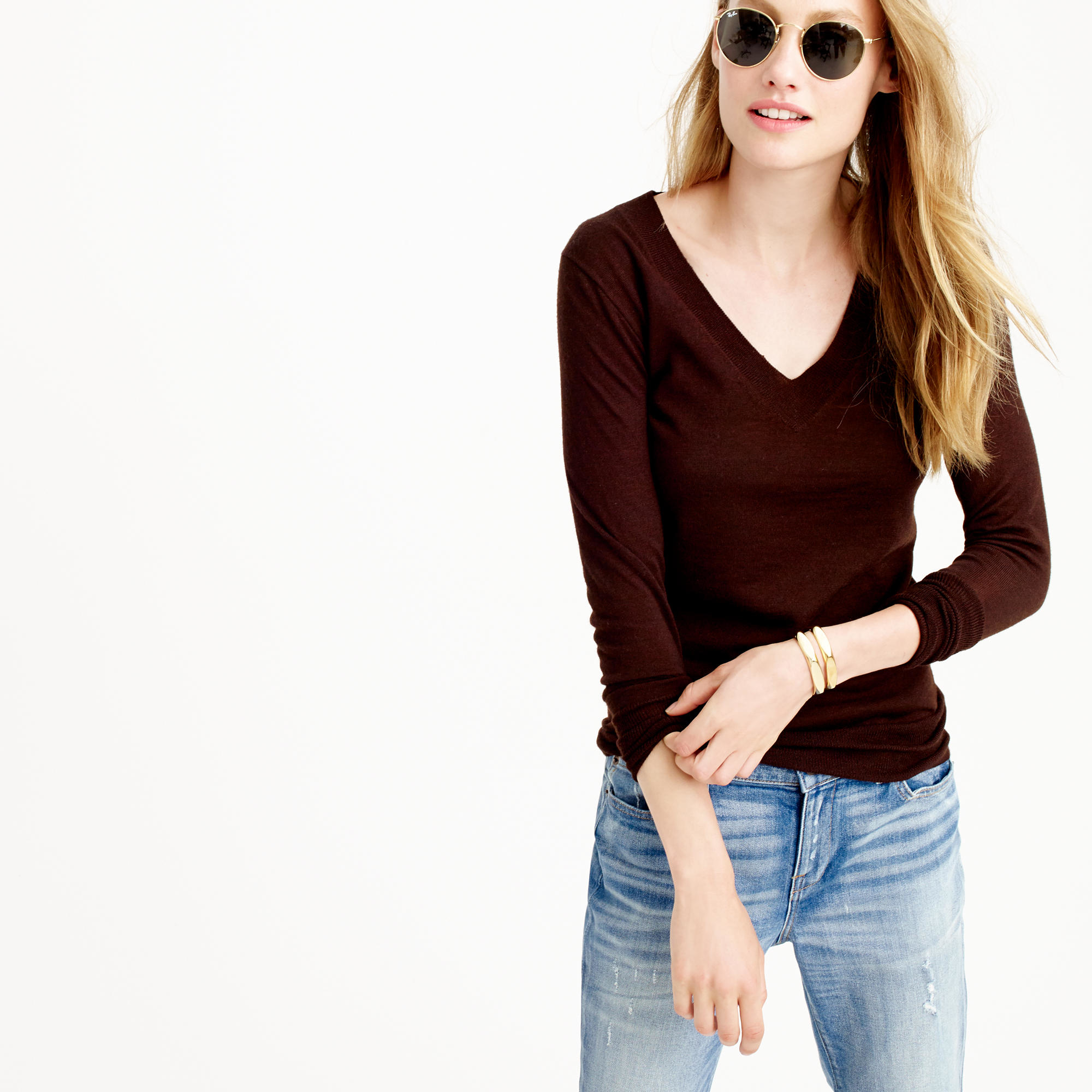 J.crew Merino Wool V-neck Sweater in Brown | Lyst