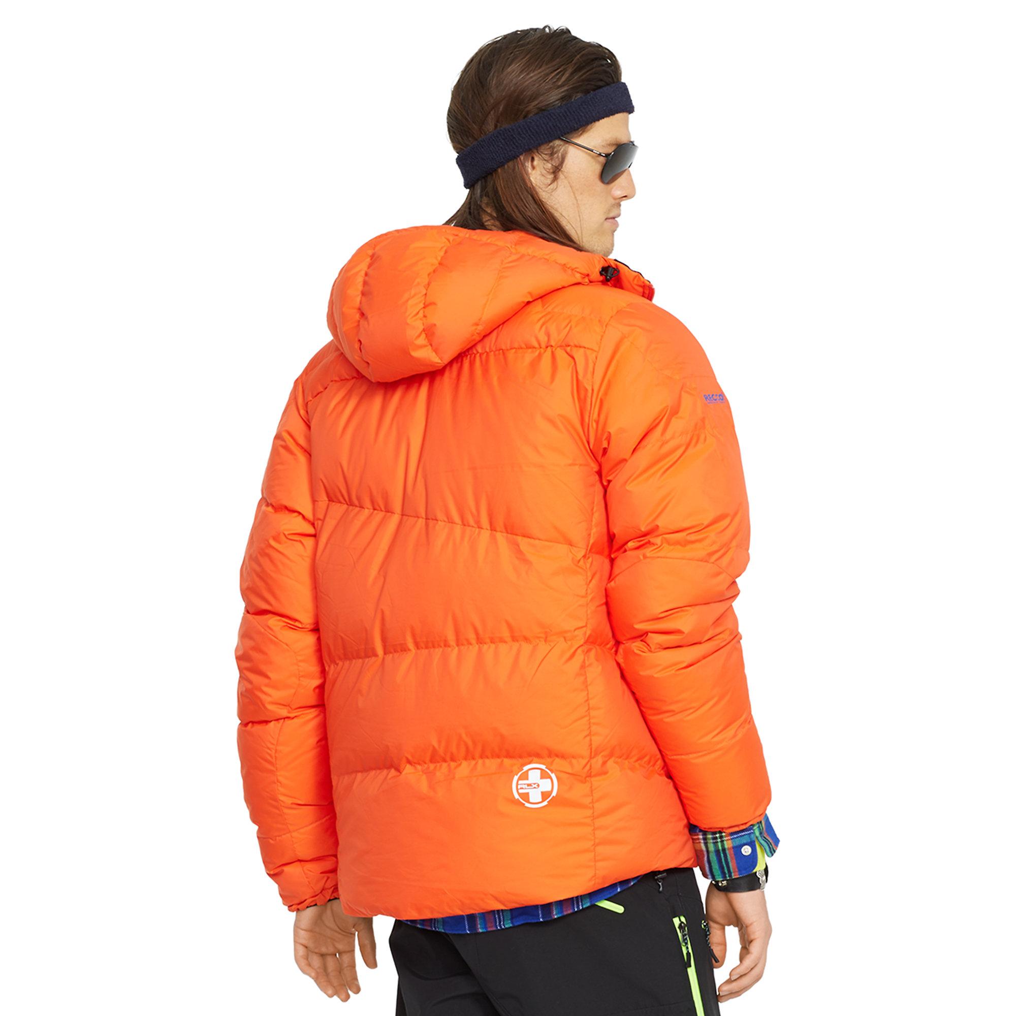 Ralph Lauren Hooded Down Ski Jacket In Orange For Men