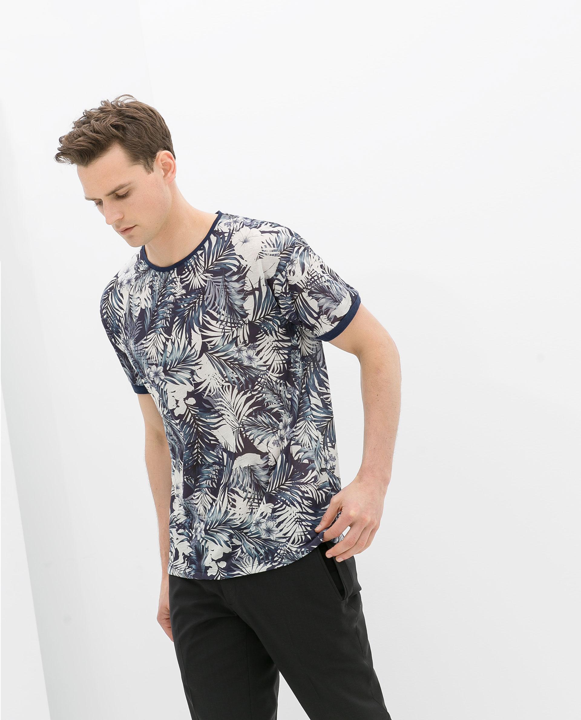 zara flower print tshirt in blue for men lyst