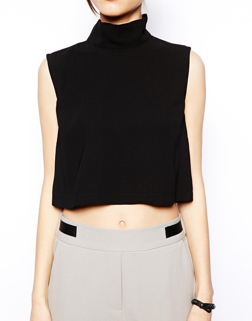 9fabc6aafc653 Lyst - Asos High Neck Sleeveless Crop Top in White